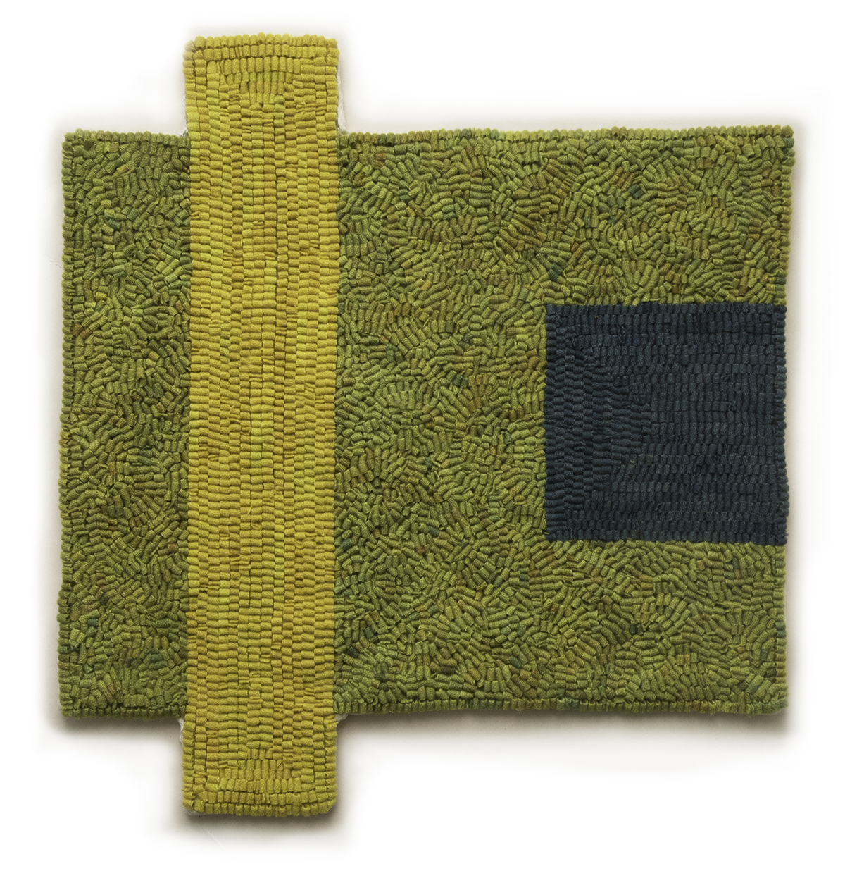 Altoon Sultan. <em>Yellow Plus Blue</em>, 2017. Hand-dyed wool on linen, 16 x 15 inches (40.6 x 38.1 cm)