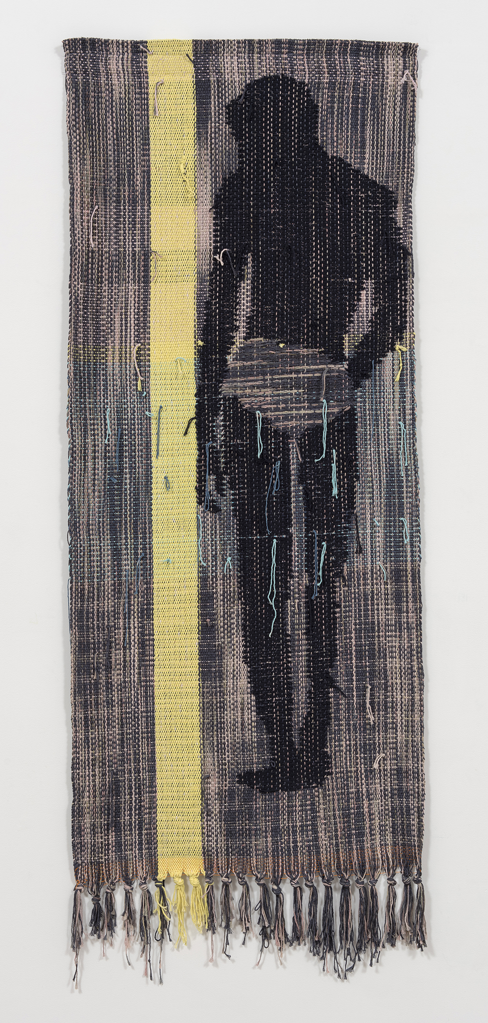 Diedrick Brackens. <em>Blue Under Night</em>, 2017. Woven cotton yarn, 78 x 31 inches  (198.1 x 78.7 cm)