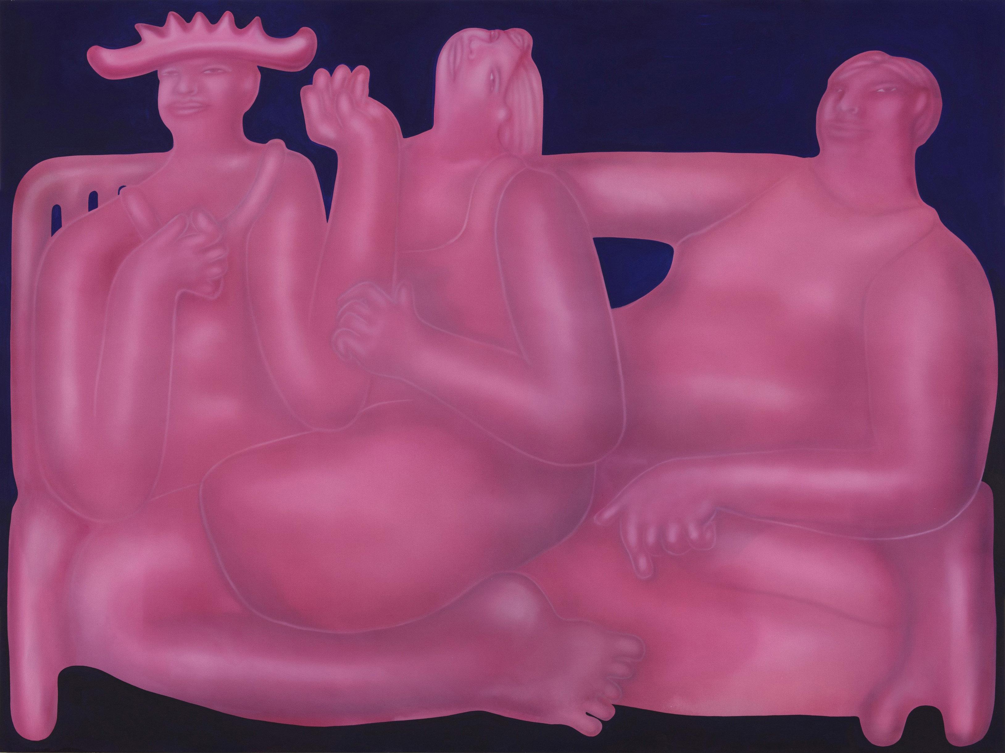 George Rouy. <em>Flirting</em>, 2018. Acrylic on canvas, 88 5/8 x 118 1/8 inches (225 x 300 cm)