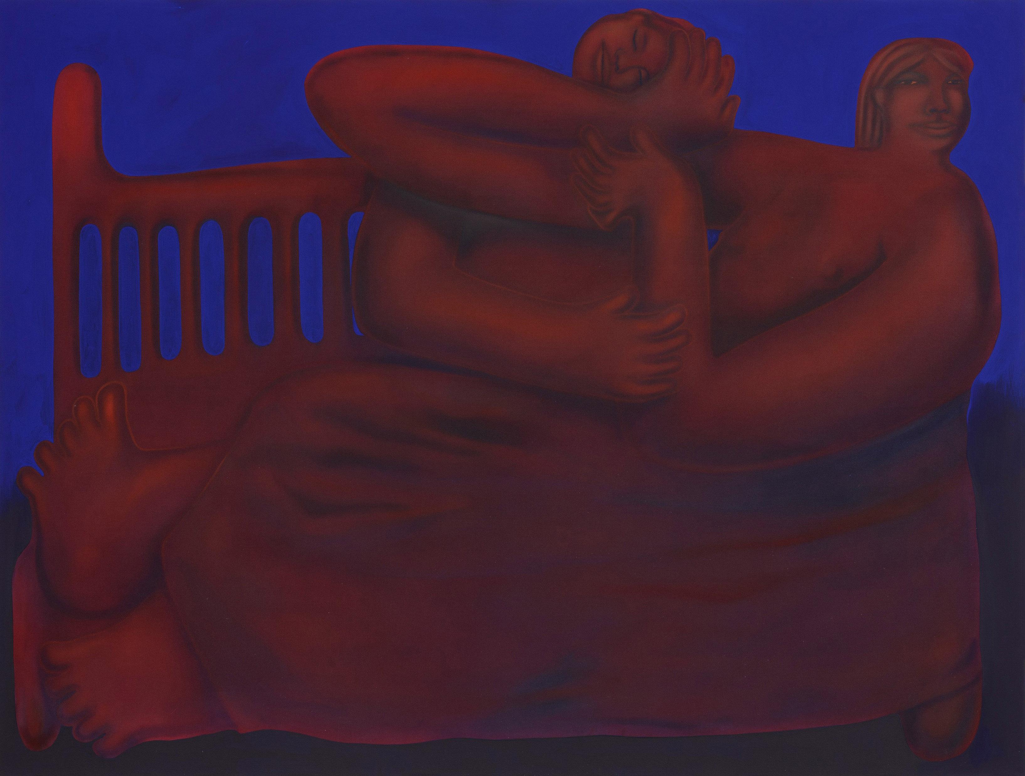 George Rouy. <em>Gentle Refusal</em>, 2018. Acrylic on canvas, 88 5/8 x 118 1/8 inches (225 x 300 cm)