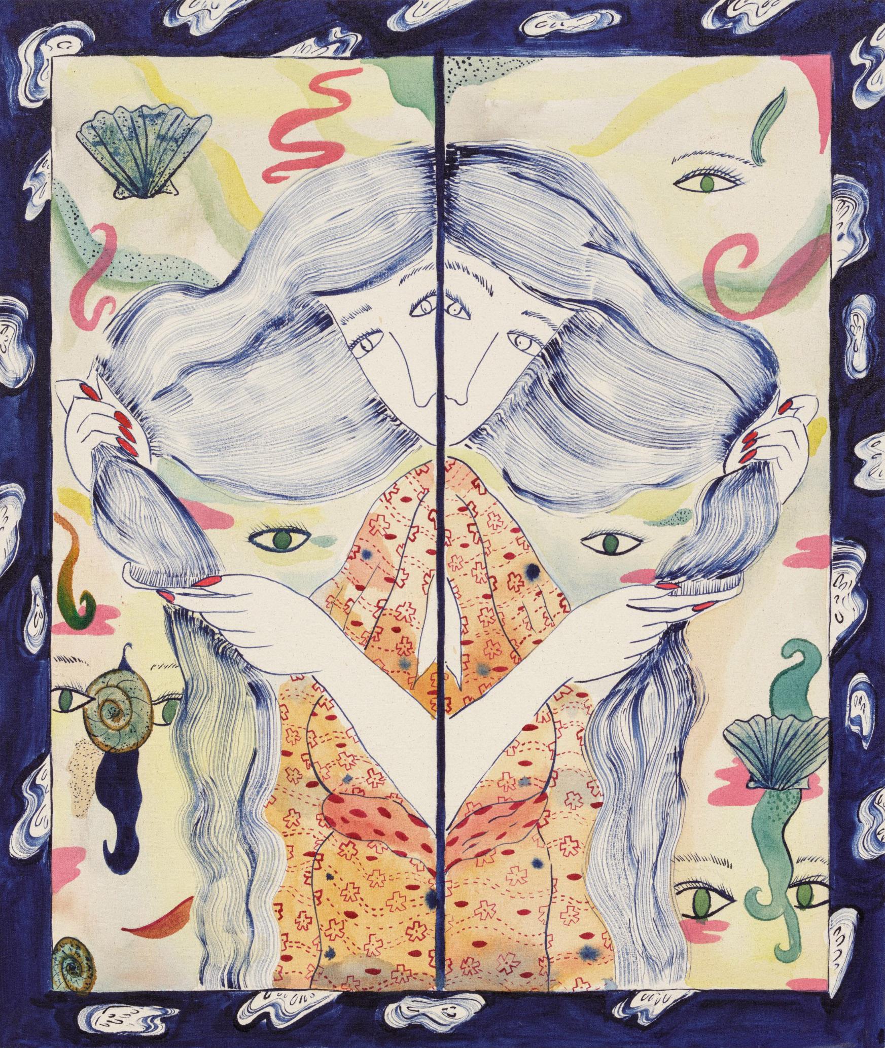 Jamie Felton. <em>Combing Mirror</em>, 2018. Ink on canvas, 30 1/4 x 25 3/4 inches (76.8 x 65.4 cm)