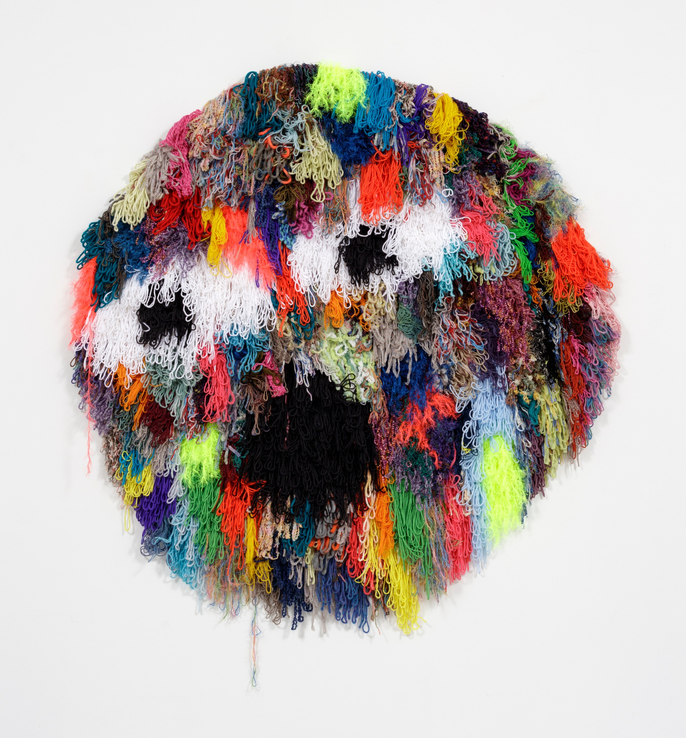 Hannah Epstein. <m>Planet Drug Cocktail</em>, 2018. Acrylic, wool, polyester and burlap, 60 x 56 inches (152.4 x 142.2 cm)