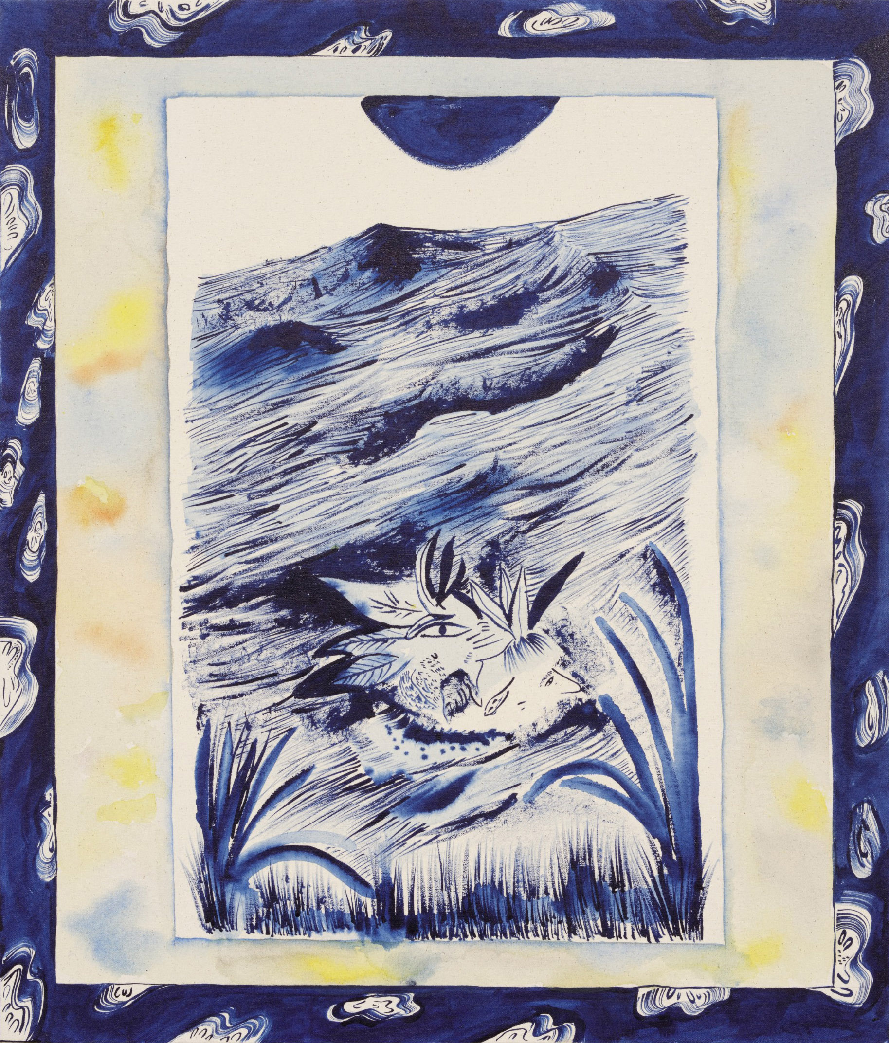 Jamie Felton. <em>Head Floating Through the River</em>, 2018. Ink on canvas, 30 1/4 x 25 3/4 inches (76.8 x 65.4 cm)