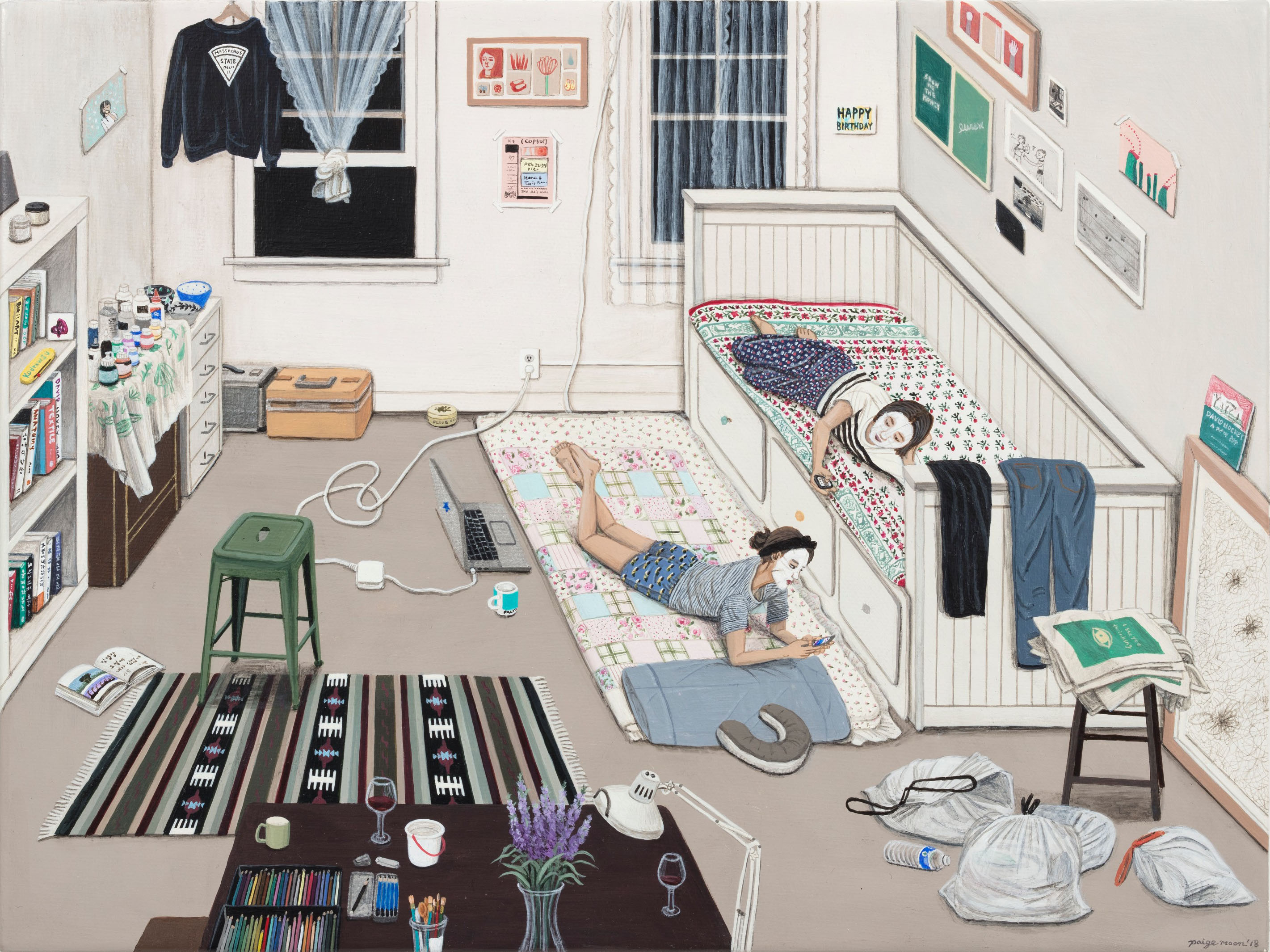 Paige Jiyoung Moon. <em>Ko's Old Apartment</em>, 2018. Acrylic on panel, 9 1/2 x 12 inches (24.1 x 30.5 cm)