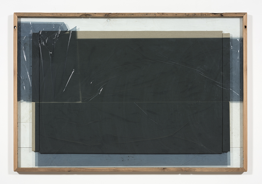 Graham Collins. <i>Wrigley </i>, 2019. Hemp canvas, reclaimed wood, glass, window tint,  59 3/4 x 87 3/4 inches (151.8 x 222.9 cm)