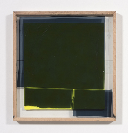Graham Collins. <i>Gondwana </i>, 2018. Spray enamel on canvas, reclaimed wood, glass, window tint, 29 1/8 x 27 1/2 inches  (74 x 69.9 cm)