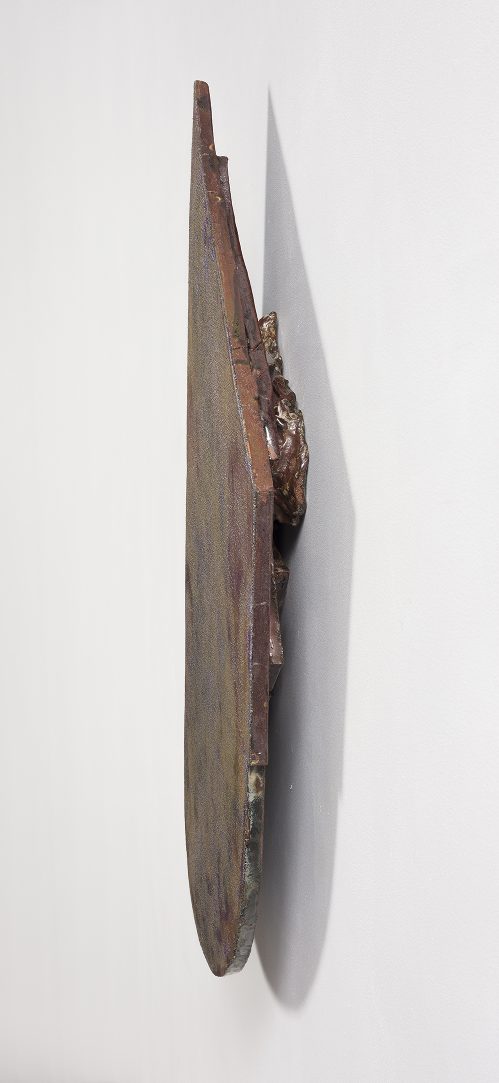 Graham Collins. <i>Social Air Gap </i>, 2019. Oil and enamel on hemp laid in ceramic, 34 x 18 inches  (86.4 x 45.7 cm)