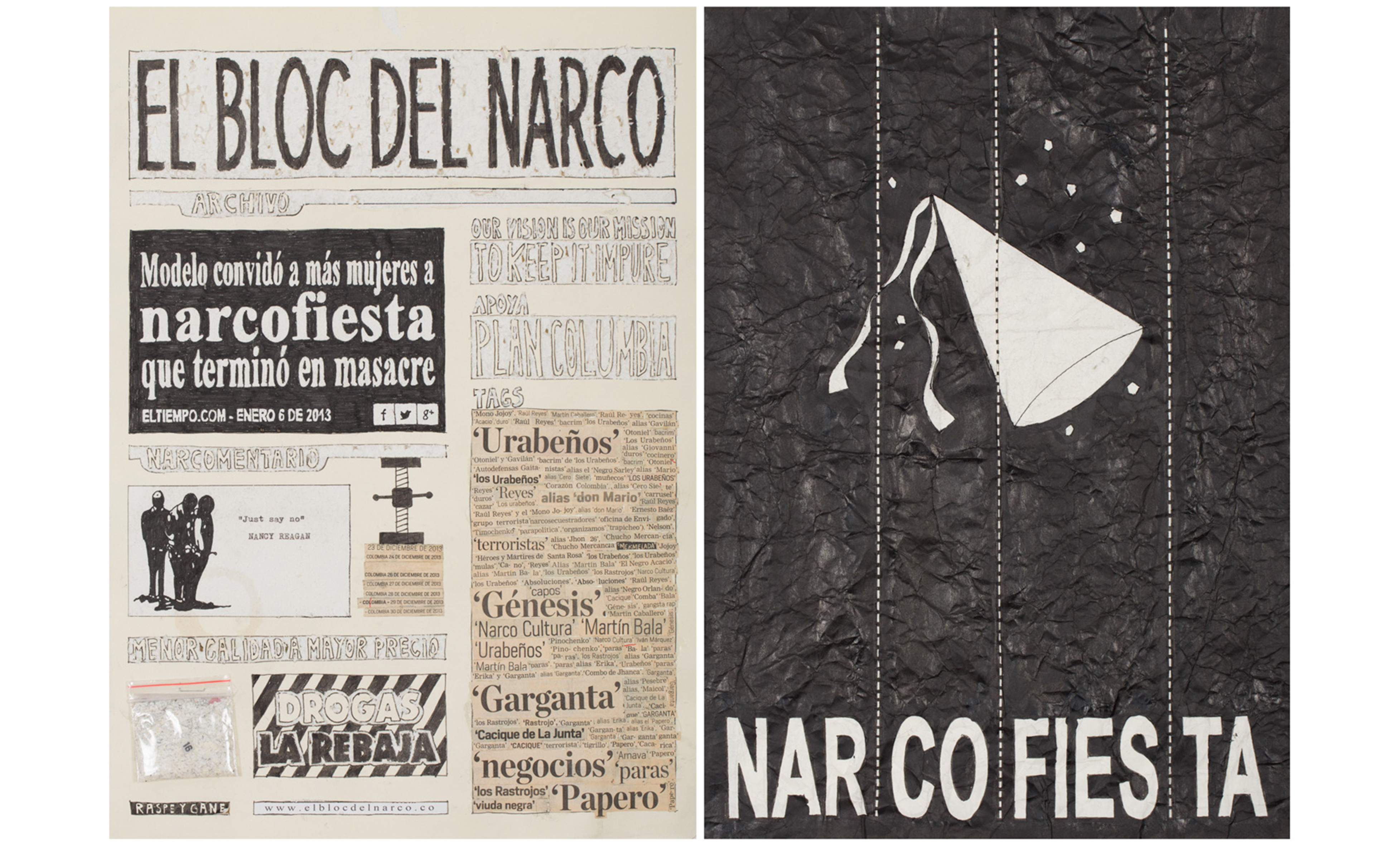 Camilo Restrepo. <em>El Bloc Del Narco #16, </em> 2016. Ink, water-soluble wax pastel, tape, glue, newspaper clippings, staples, plastic bag, paper dust and saliva on paper, 16 1/2 x 24 (41.9 x 61 cm)