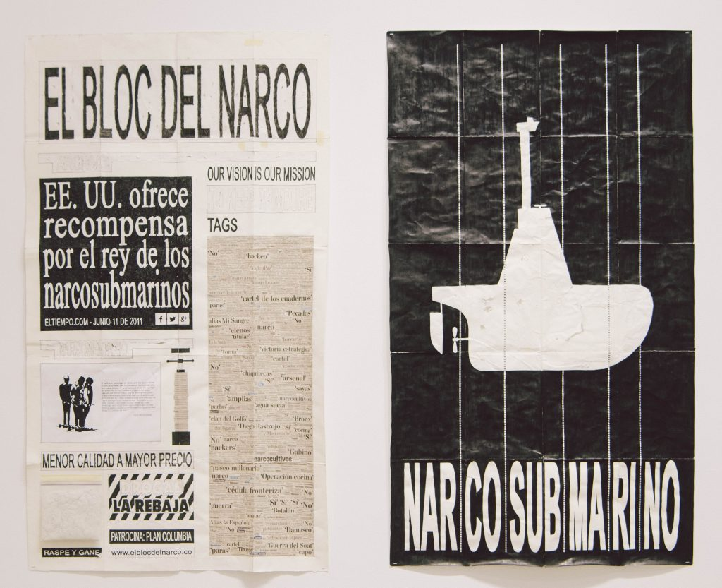 Camilo Restrepo. <em>El Bloc Del Narco #14, </em> 2016. Ink, water-soluble wax pastel, tape, glue, newspaper clippings, staples, plastic bag, paper dust and saliva on paper, 58 x 66 (147.3 x 147.6 cm)