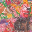 Camilo Restrepo. <em>A Land Reform 17, </em>2019. Ink, water-soluble wax pastel, tape, stickers, newspaper clippings, glue and saliva on paper, 46 3/4 x 115 3/4 inches (118.7 x 294 cm) Detail thumbnail