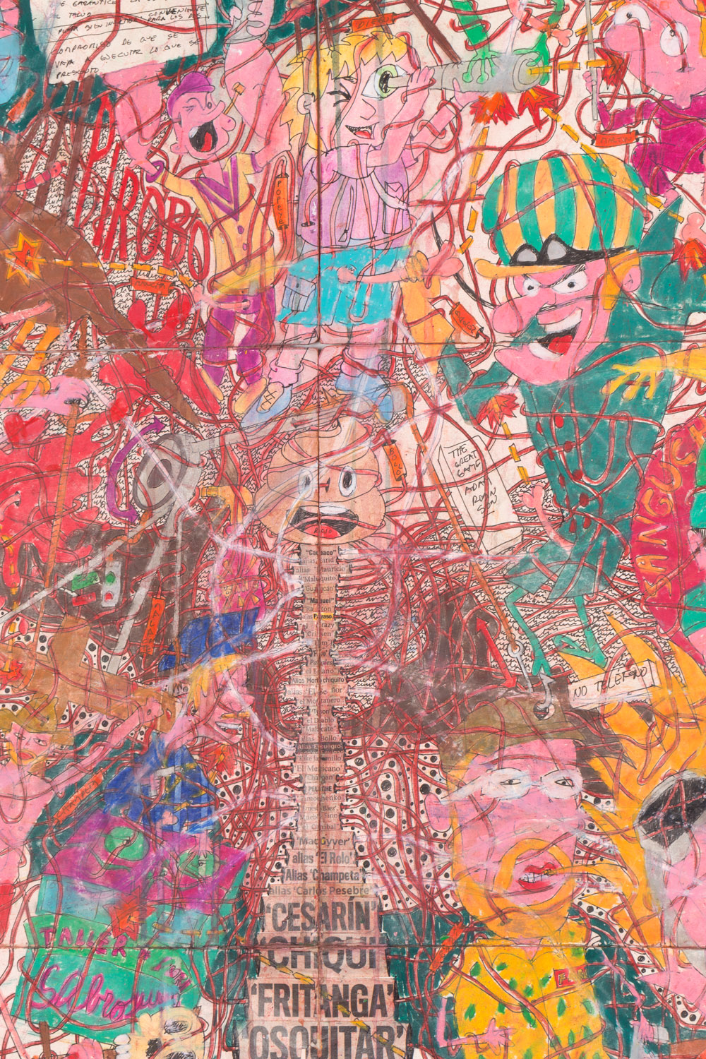 Camilo Restrepo. <em>A Land Reform 17, </em>2019. Ink, water-soluble wax pastel, tape, stickers, newspaper clippings, glue and saliva on paper, 46 3/4 x 115 3/4 inches (118.7 x 294 cm) Detail