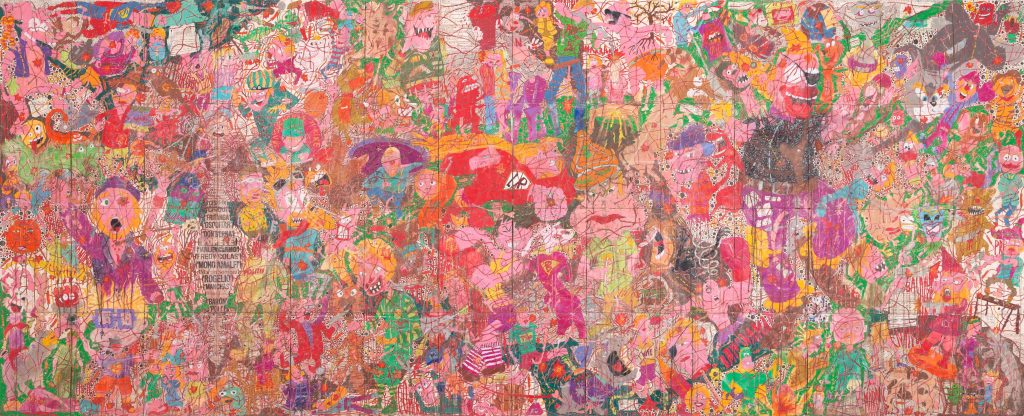 Camilo Restrepo. <em>A Land Reform 17, </em>2019. Ink, water-soluble wax pastel, tape, stickers, newspaper clippings, glue and saliva on paper, 46 3/4 x 115 3/4 inches (118.7 x 294 cm)