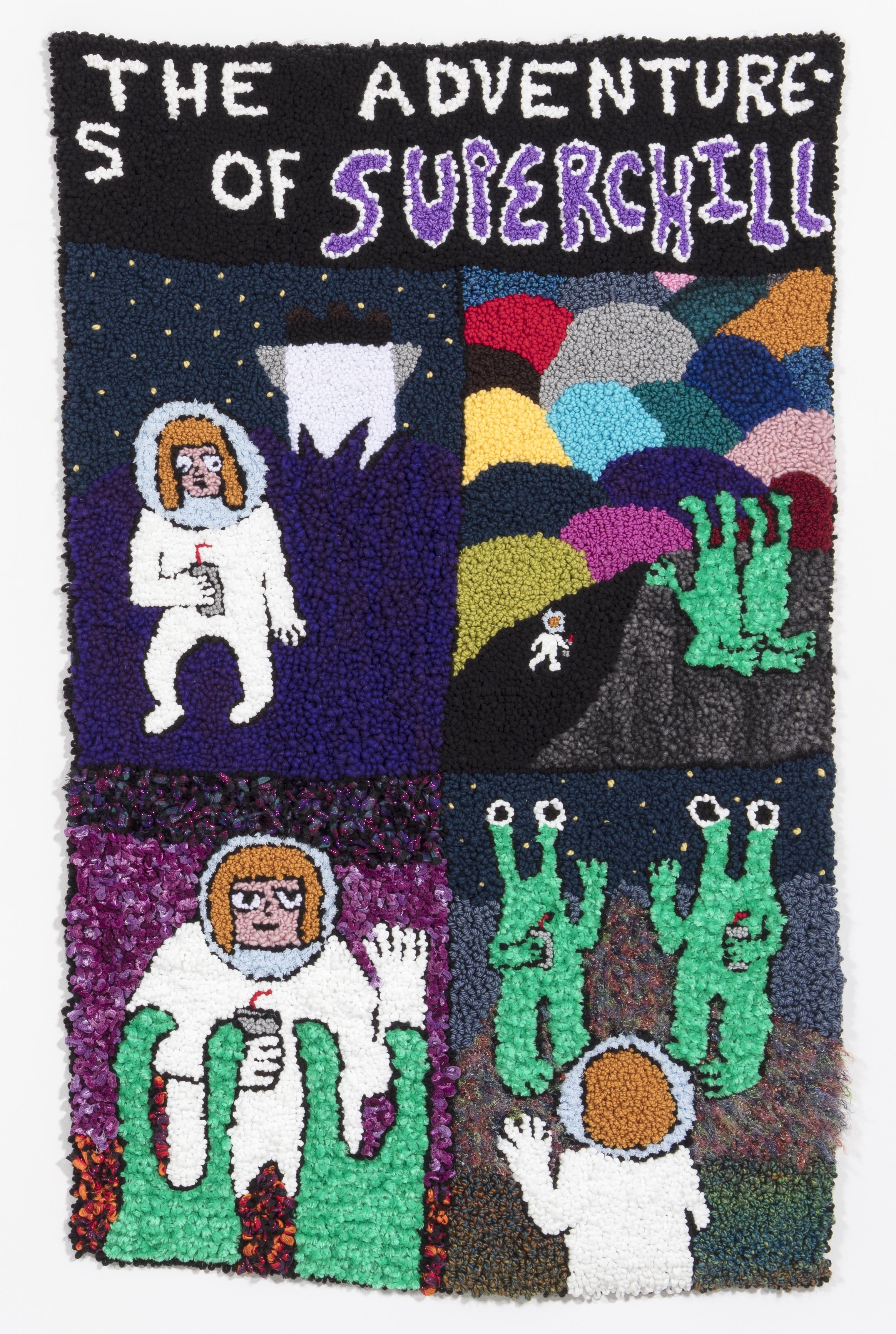Hannah Epstein. <em>Superchill (DYWAFTTOS?) Episode 2</em>, 2018. Acrylic, wool, polyester and burlap, 69 x 44 inches (175.3 x 111.8 cm)