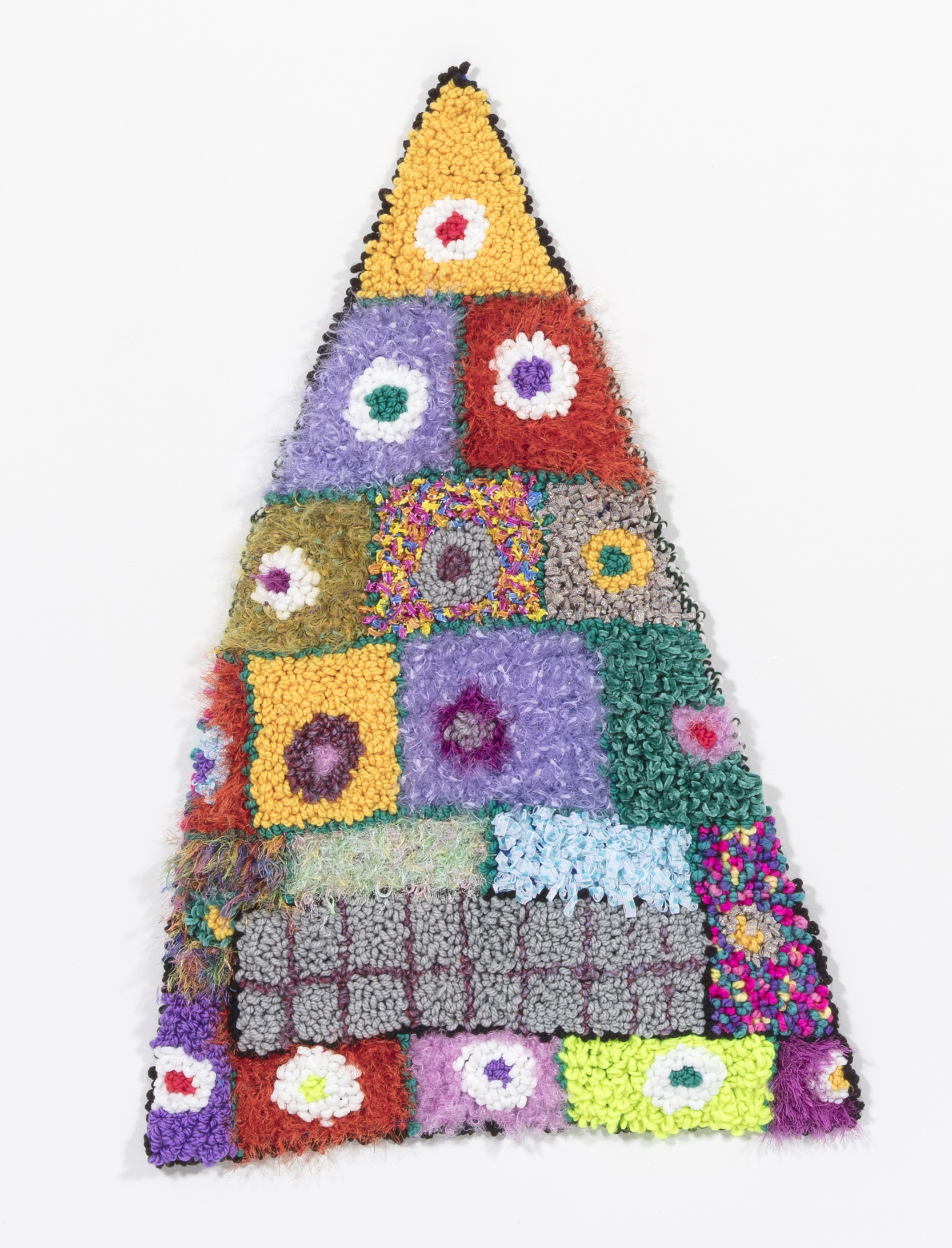 Hannah Epstein. <em>Ancient Aliens</em>, 2018. Wool, acrylic, polyester and burlap, 39 x 27 inches (99.1 x 68.6 cm)