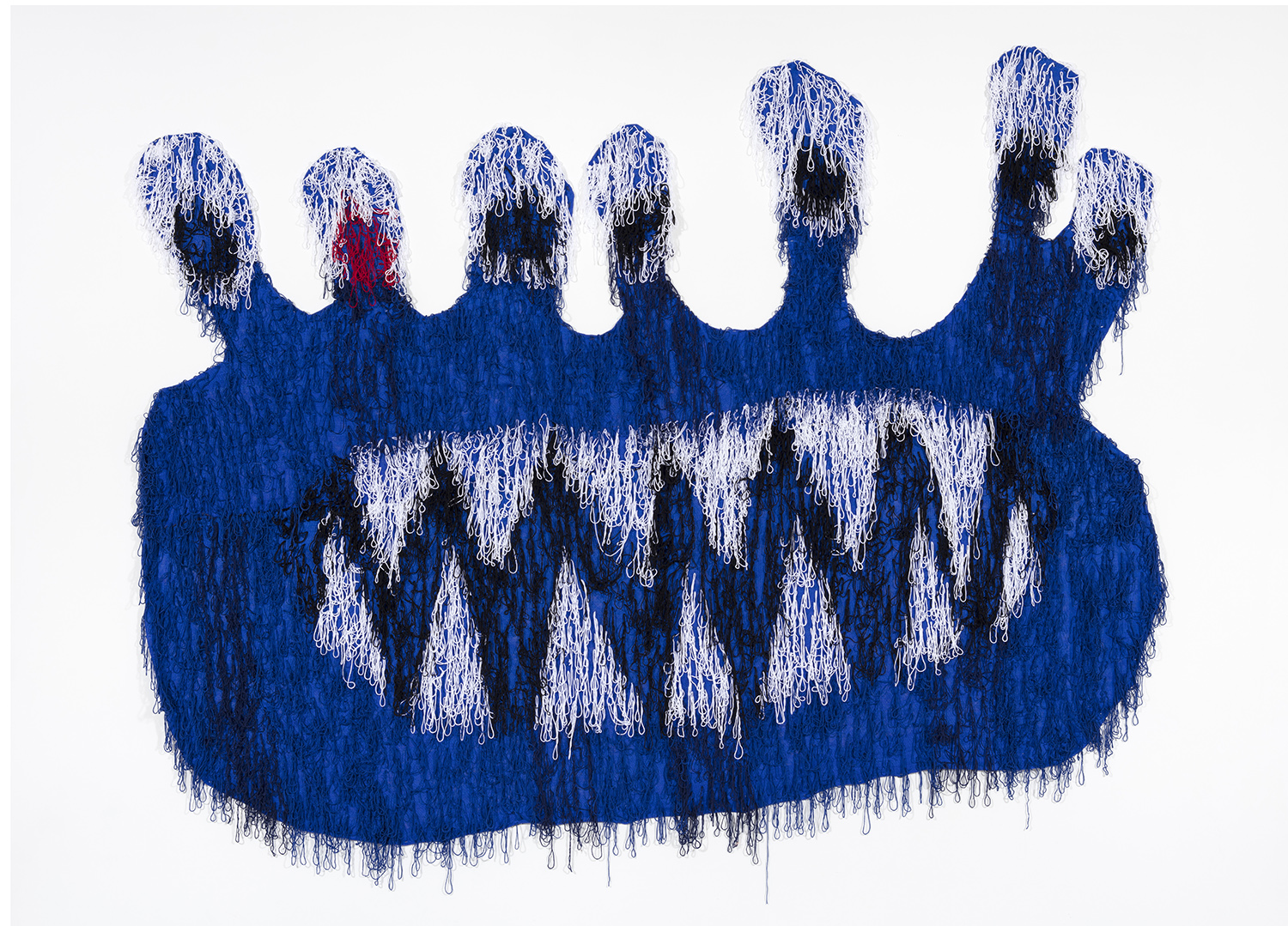 Hannah Epstein. <em>Big Blue Alien</em>, 2018. Acrylic and burlap, 111 x 154 inches (281.9 x 391.2 cm)
