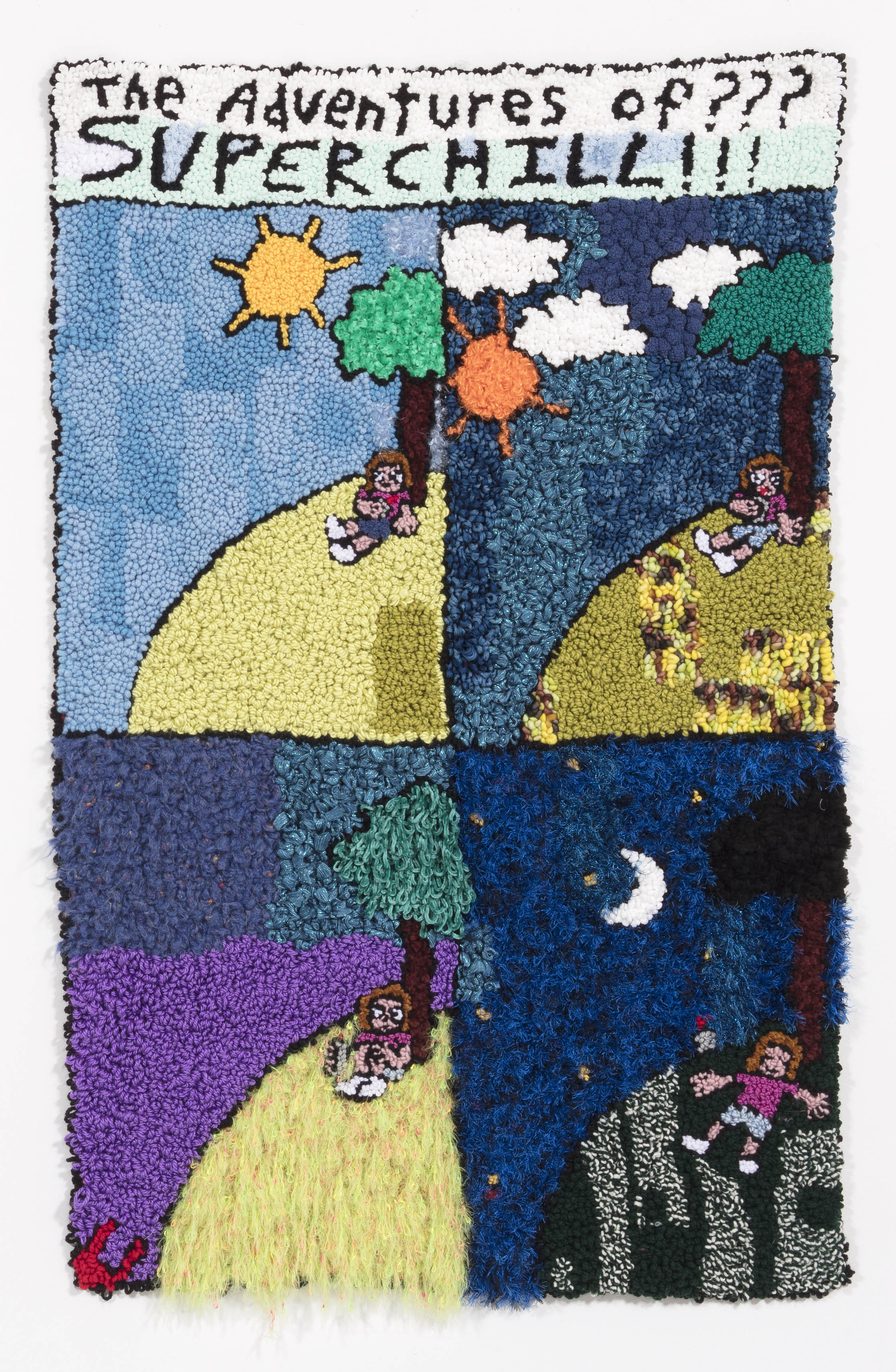 Hannah Epstein. <em>Home Sweet Home</em>, 2018. Wool, acrylic, polyester and burlap, 69 x 44 inches (175.3 x 111.8 cm)