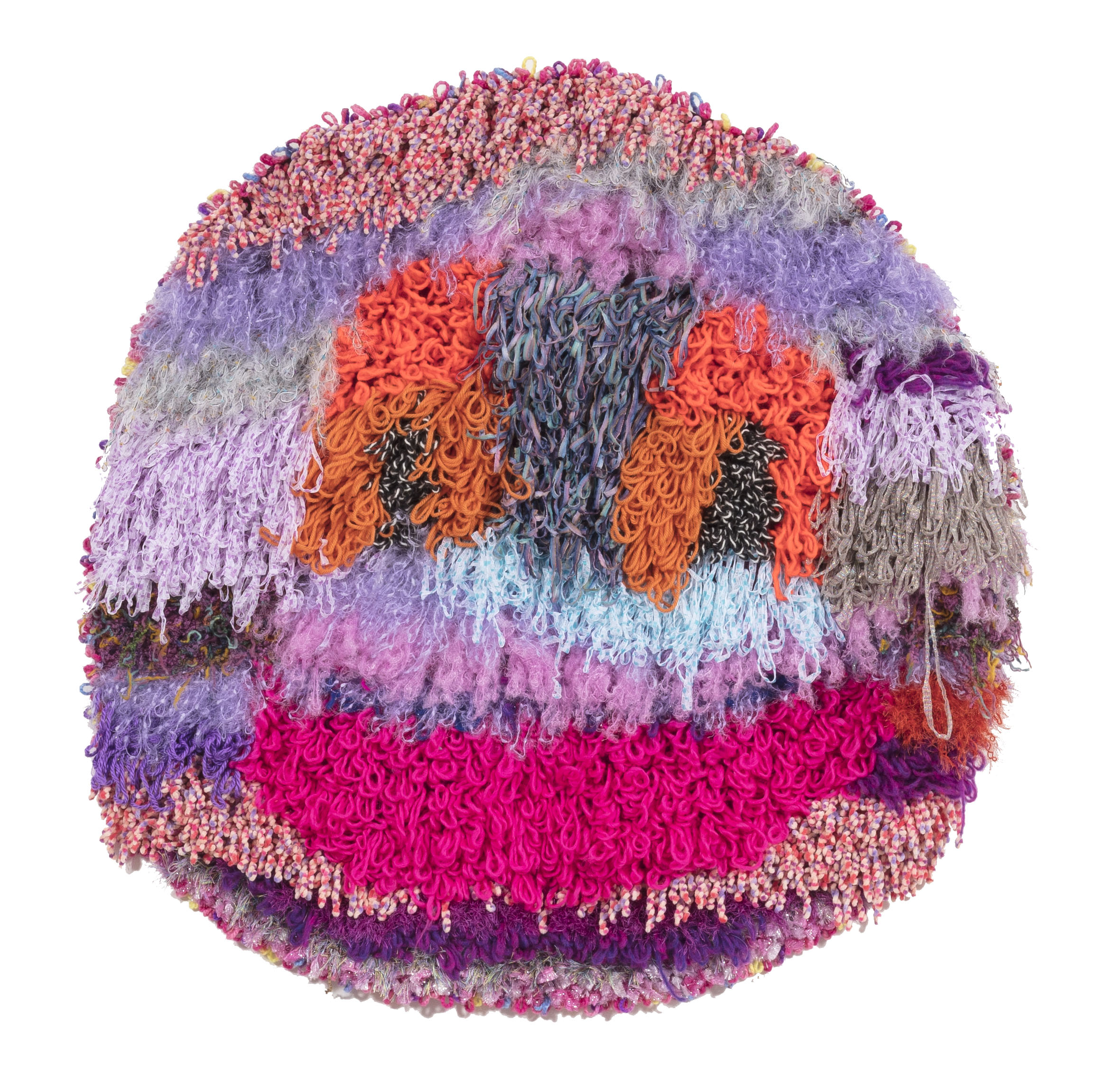 Hannah Epstein. <em>Planet Friendly</em>, 2018. Wool, acrylic, polyester, nylon and burlap, 46 x 47 inches (116.8 x 119.4 cm)