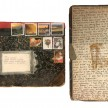 Mitsuko Brooks. <em>Mail to S.T., Dec. 2, 2018</em>, 2018. Ink, postage stamps, and paper collaged onto detached book cover, 9 1/2 x 7 inches (24.1 x 17.8 cm) thumbnail