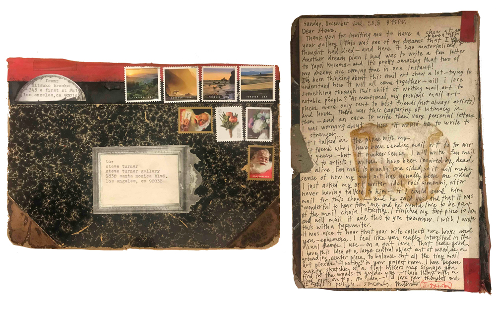 Mitsuko Brooks. <em>Mail to S.T., Dec. 2, 2018</em>, 2018. Ink, postage stamps, and paper collaged onto detached book cover, 9 1/2 x 7 inches (24.1 x 17.8 cm)