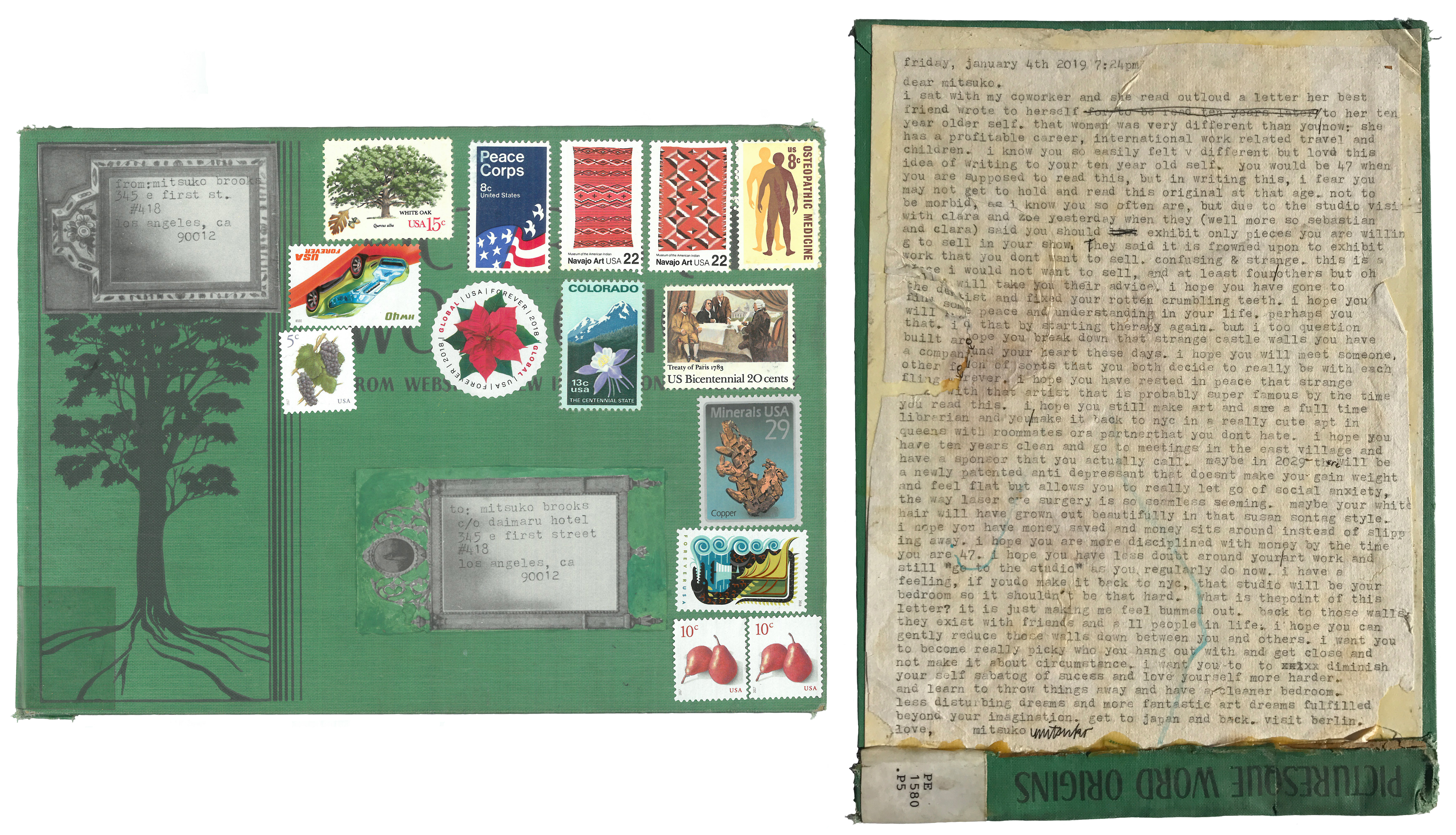 Mitsuko Brooks. <em>Mail to M.B., Jan. 4, 2019</em>, 2019. Ink, postage stamps, and paper collaged onto detached book cover, 9 7/8 x 7 1/8 inches (25 x 18 cm)