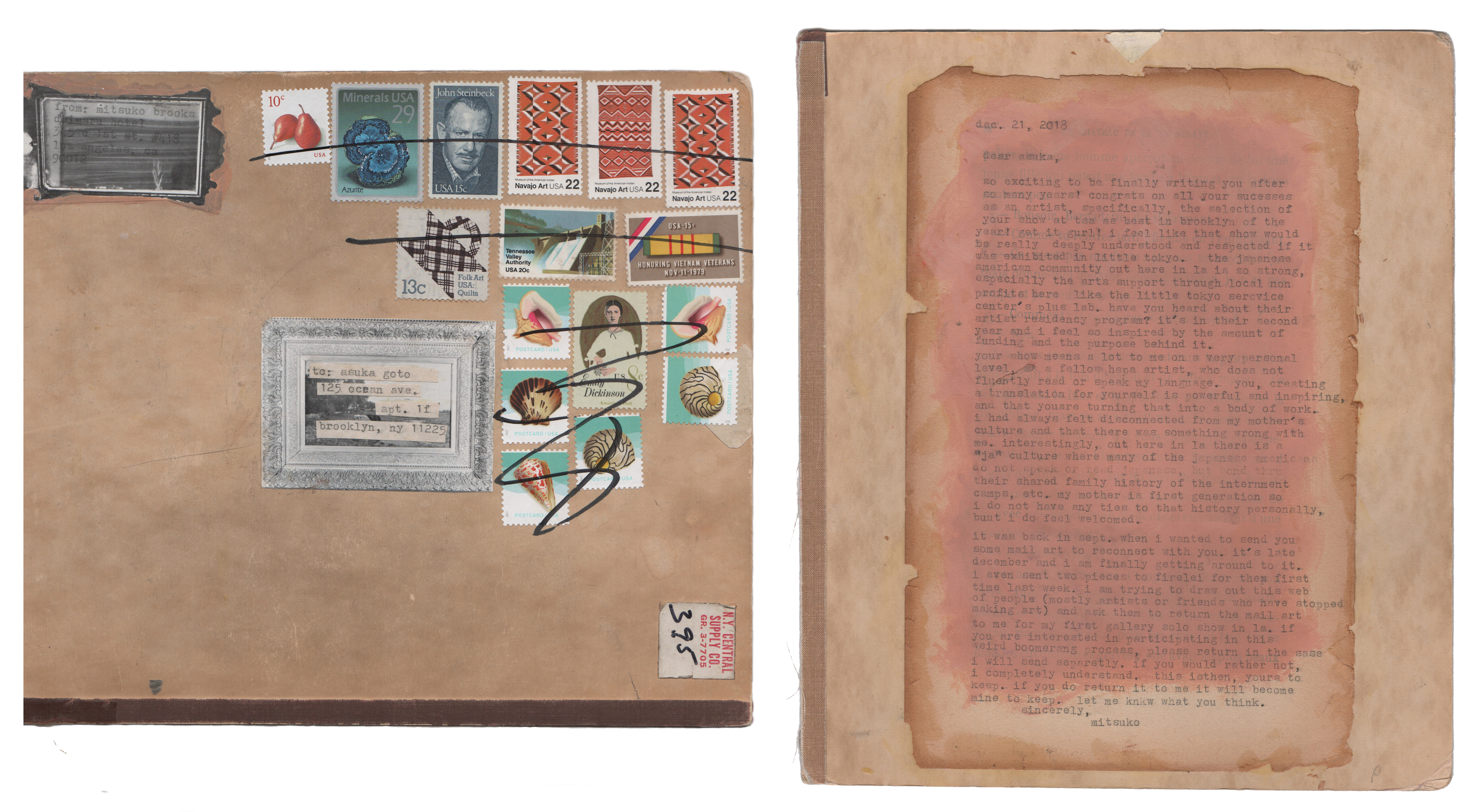 Mitsuko Brooks. <em>Mail to A.G., Dec. 22, 2018</em>, 2018. Ink, postage stamps, and paper collaged onto detached book cover, 10 x 8 5/8 inches (25.5 x 22 cm)
