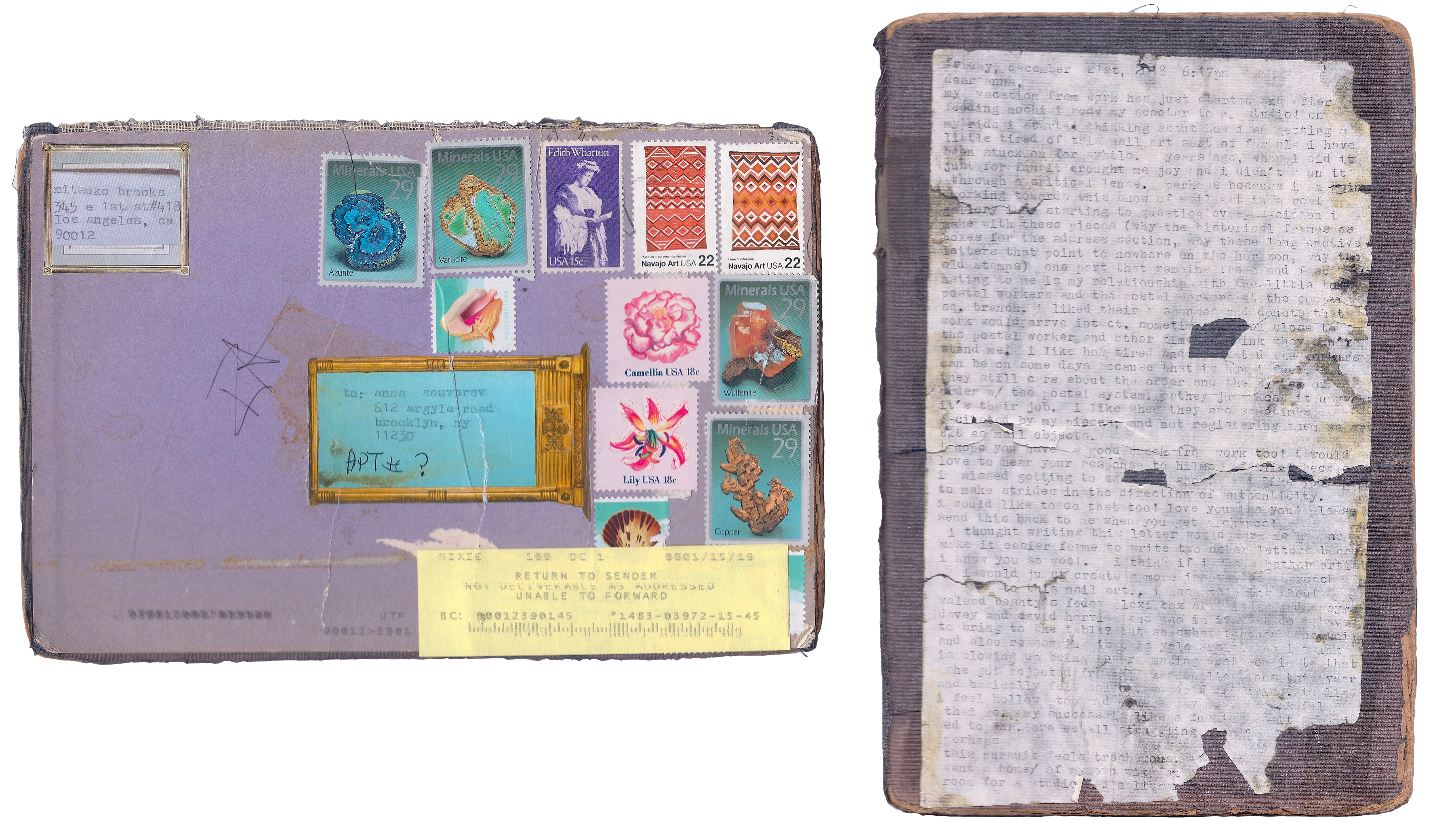 Mitsuko Brooks. <em>Mail to A.S., Dec. 22, 2018</em>, 2018. Ink, postage stamps, and paper collaged onto detached book cover, 9 1/2 x 6 1/4 inches (24 x 16 cm)