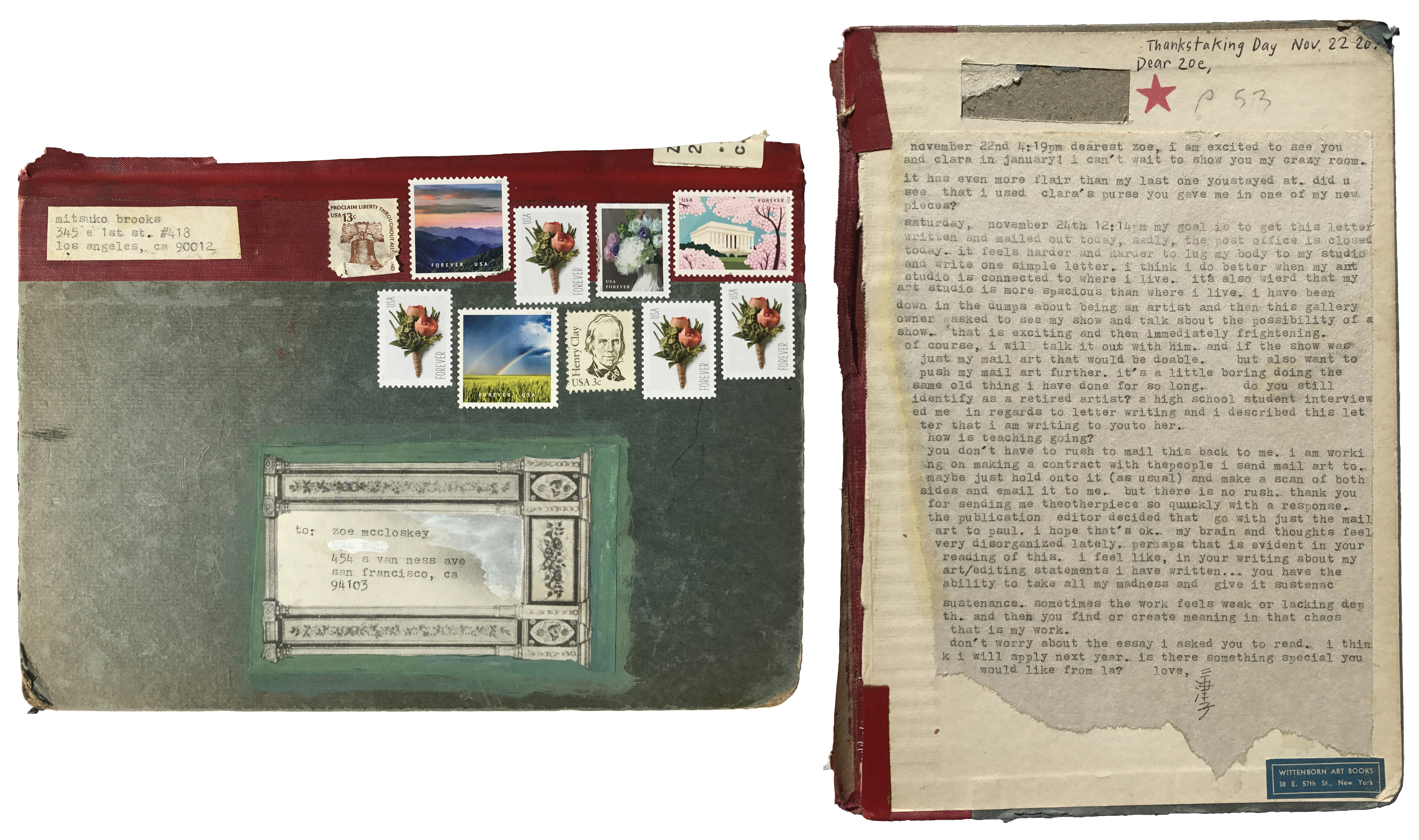 Mitsuko Brooks. <em>Mail to Z.M., Nov. 22, 2018</em>, 2018. Ink, postage stamps, and paper collaged onto detached book cover, 9 7/8 x 7 1/4 inches (25 x 18 cm)