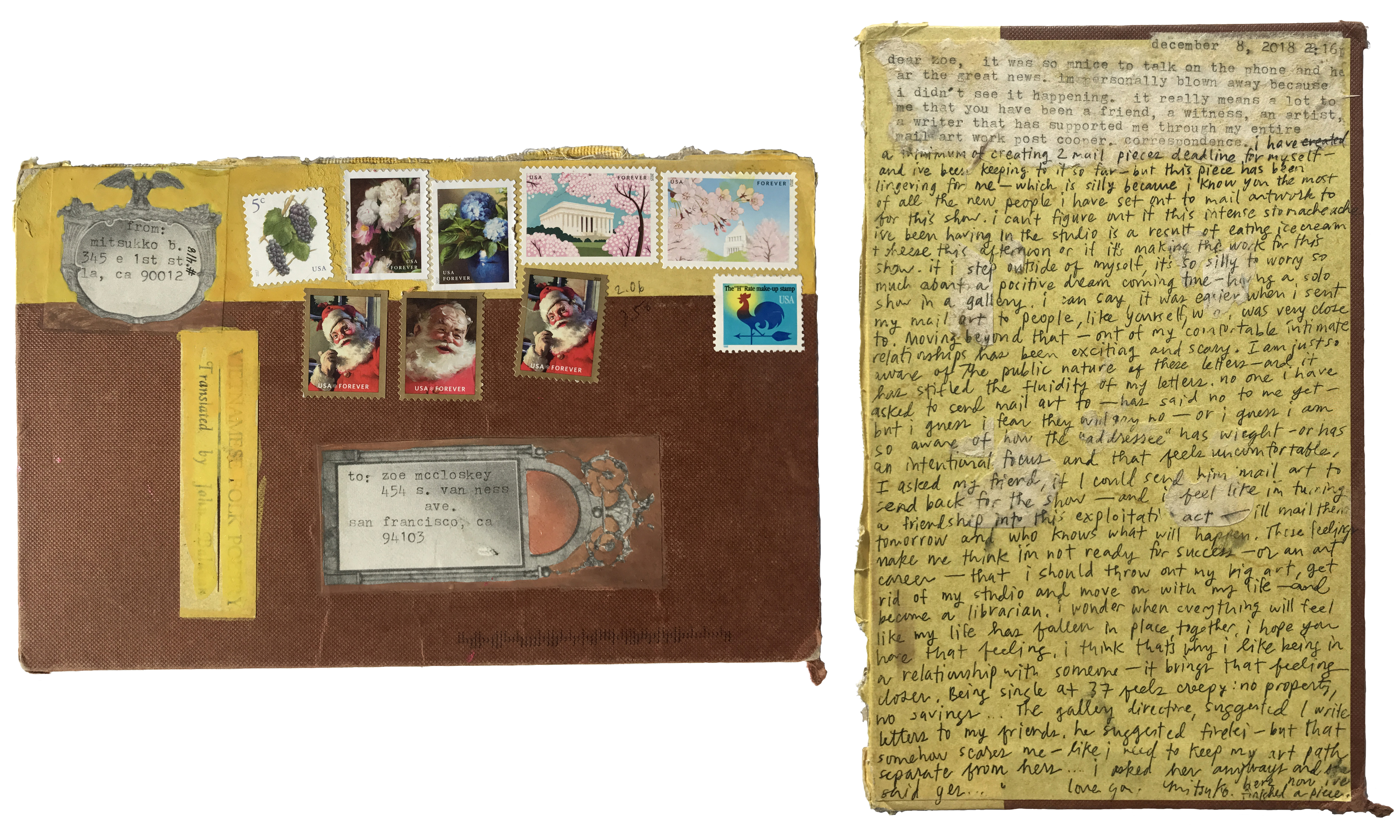 Mitsuko Brooks. <em>Mail to Z.M., Dec. 8, 2018</em>, 2018. Ink, postage stamps, and paper collaged onto detached book cover, 8 3/4 x 5 3/4 inches (22.3 x 14.5 cm)
