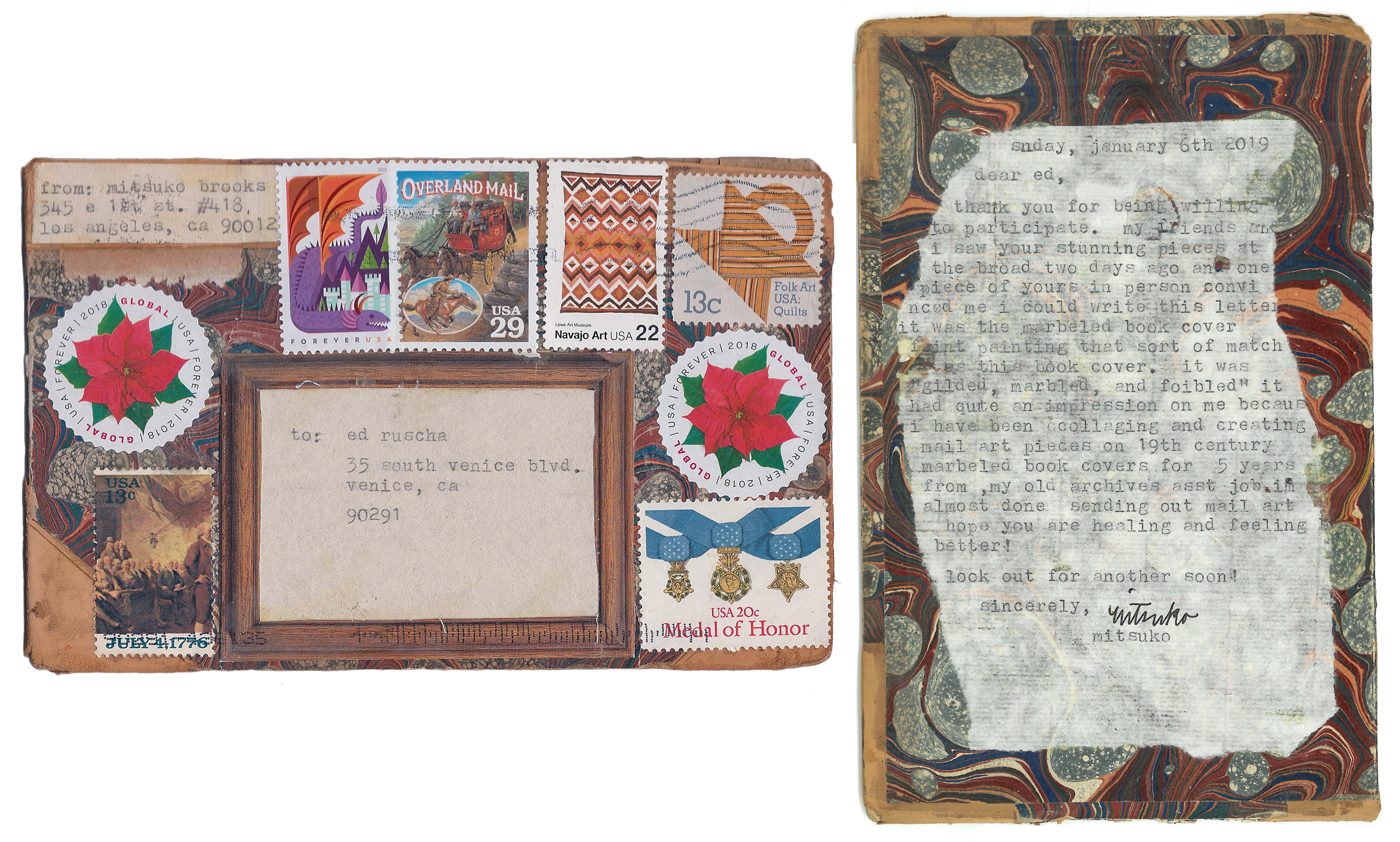 Mitsuko Brooks. <em>Mail to E.R., Jan. 7, 2018</em>, 2018. Ink, postage stamps, and paper collaged onto detached book cover, 6 3/4 x 4 3/8 inches (17 x 11 cm)