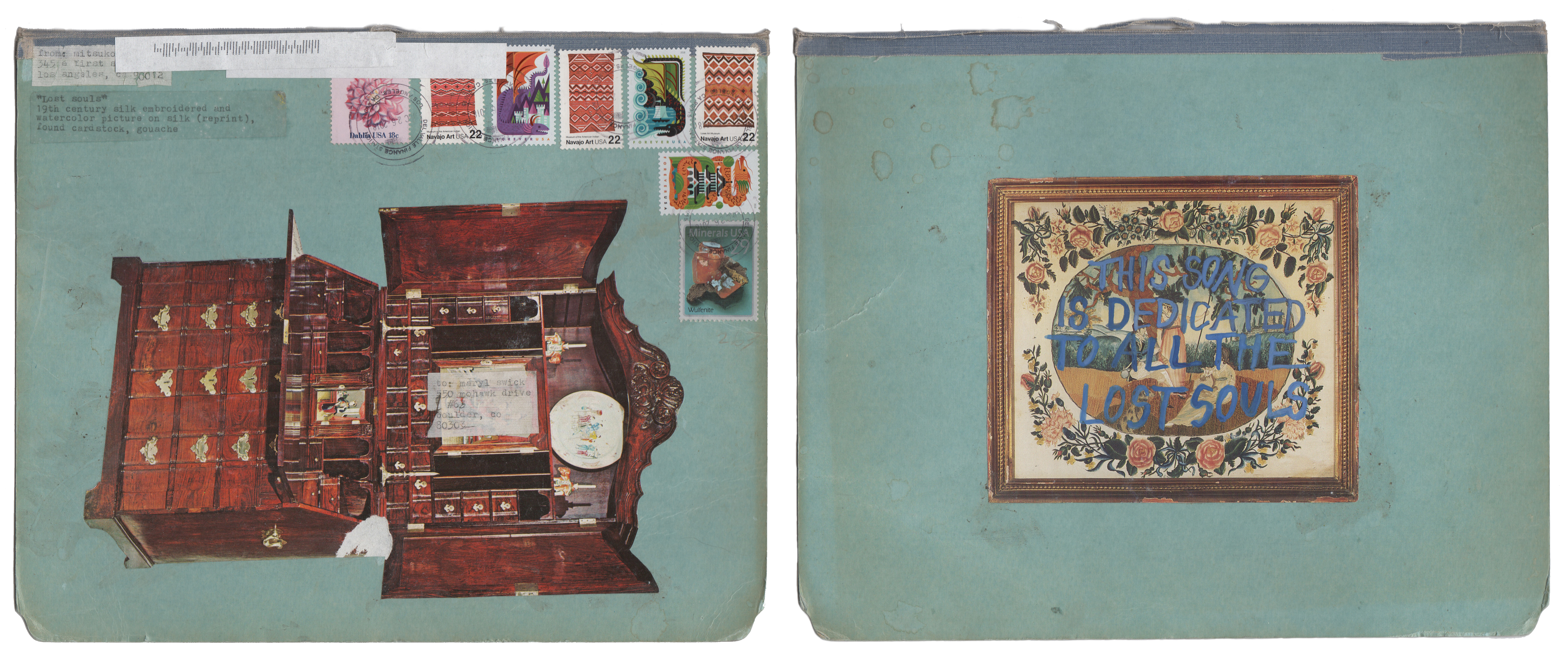Mitsuko Brooks. <em>Mail to M.S., Dec. 26, 2018</em>, 2018. Ink, postage stamps, and paper collaged onto detached book cover, 5 3/8 x 8 1/2 inches (14.3 x 21.5 cm)