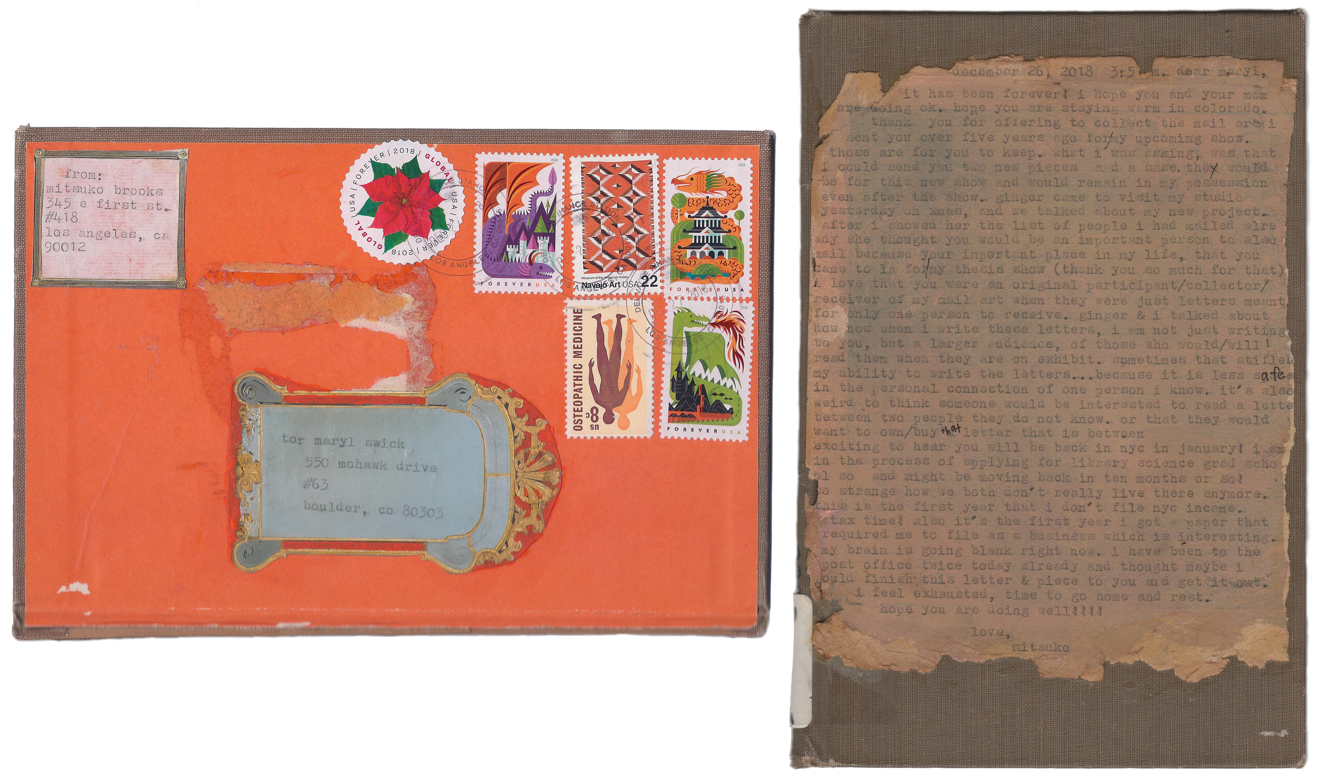 Mitsuko Brooks. <em>Mail to M.S., Dec. 22, 2018</em>, 2018. Ink, postage stamps, and rice paper collaged onto detached book cover, 3 5/8 x 2 3/8 inches (9.3 x 6 cm)