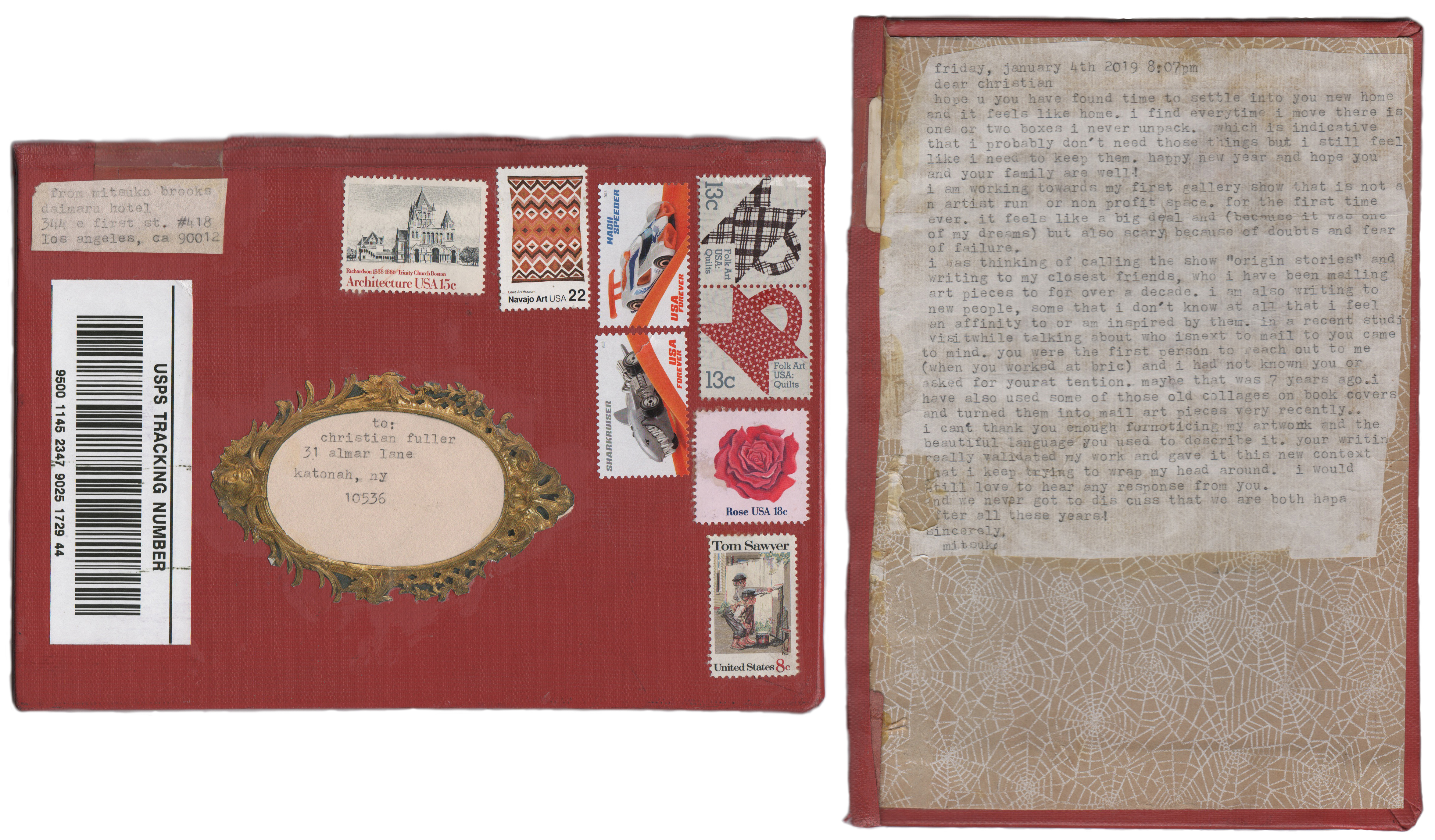 Mitsuko Brooks. <em>Mail to C.F., Jan. 19, 2019</em>, 2019. Ink, postage stamps, and paper collaged onto detached book cover, 8 7/8 x 6 1/4 inches (22.5 x 16 cm)