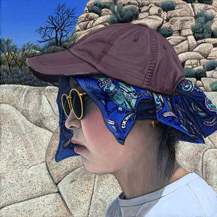 Paige Jiyoung Moon. <em>A Hiker</em>, 2018. Acrylic on canvas, 6 x 6 inches (15.2 x 15.2 cm)