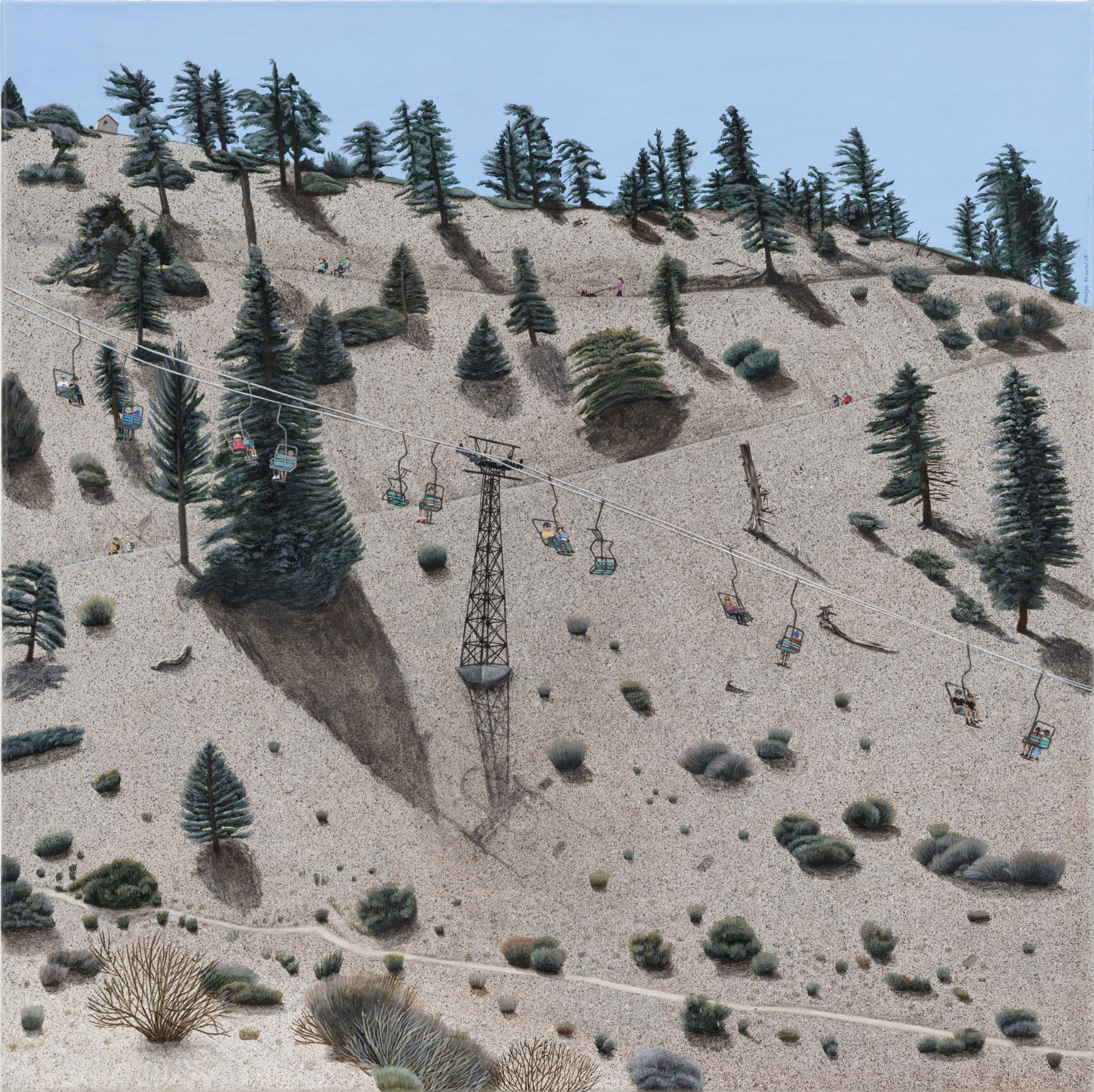 Paige Jiyoung Moon. <em>Baldy Road</em>, 2018. Acrylic on canvas, 18 x 18 inches (45.7 x 45.7 cm)