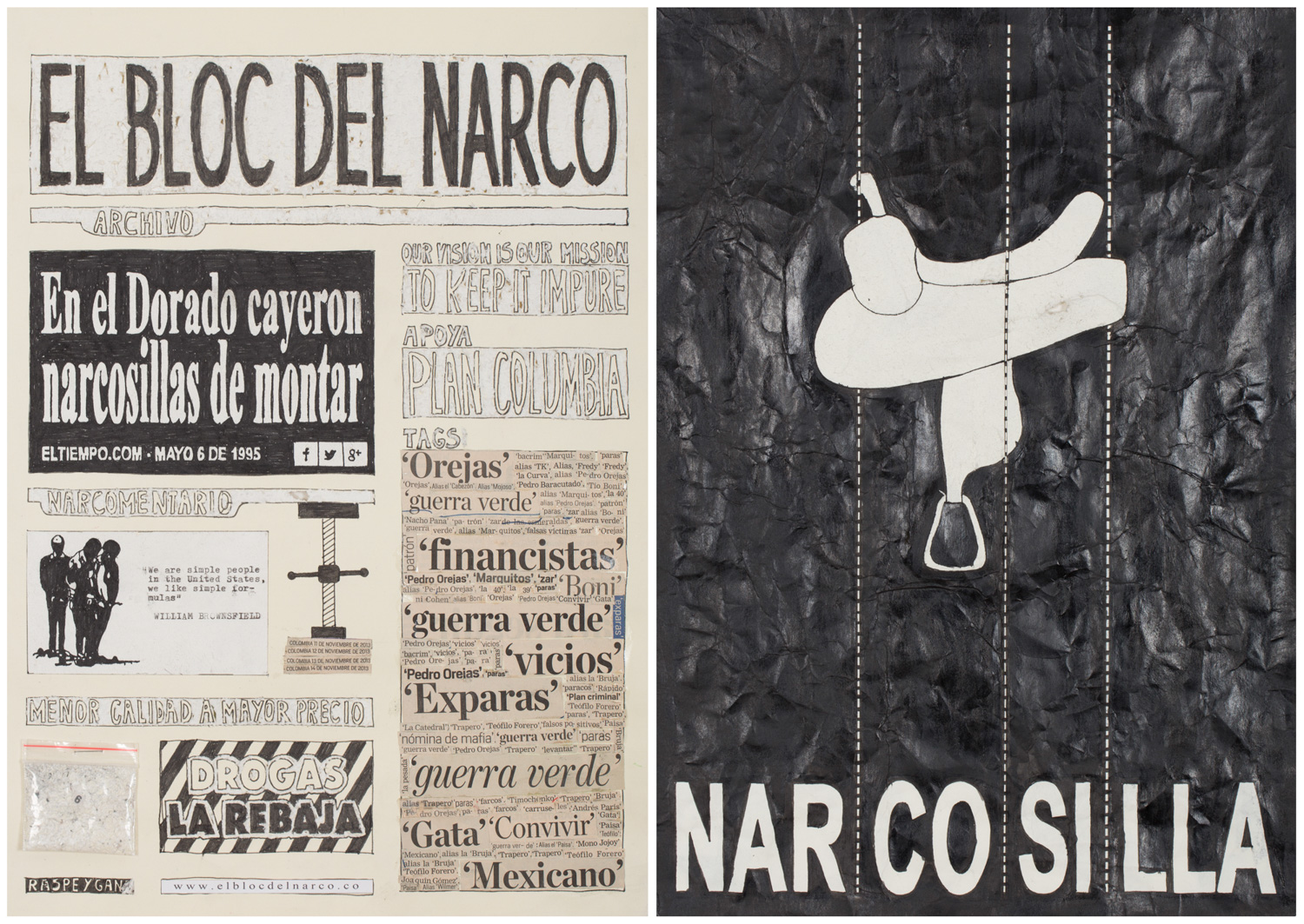 Camilo Restrepo. <em>El Bloc Del Narco #6, </em> 2016. Ink, water-soluble wax pastel, tape, glue, newspaper clippings, staples, plastic bag, paper dust and saliva on paper, 16 1/2 x 24 (41.9 x 61 cm)