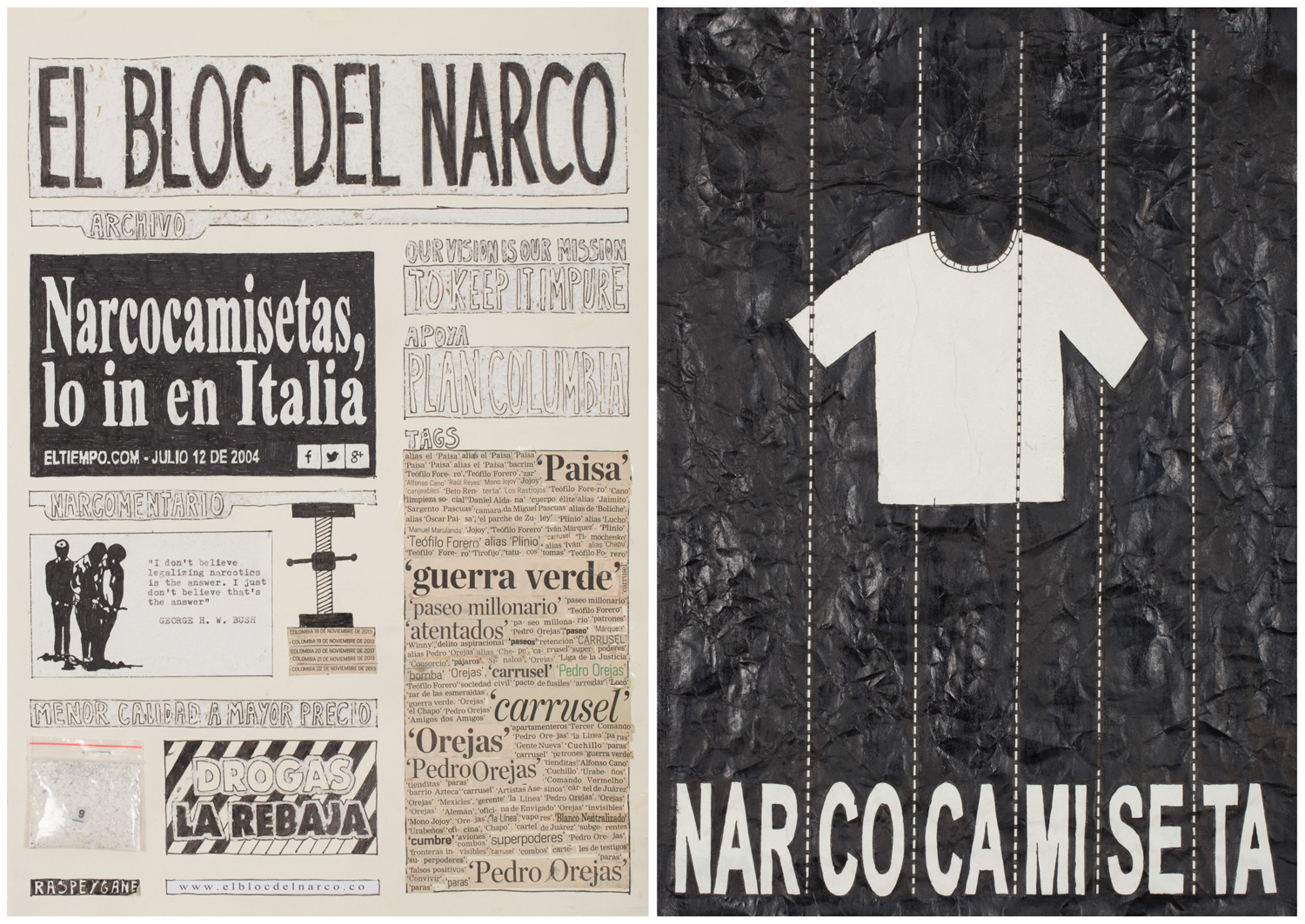 Camilo Restrepo. <em>El Bloc Del Narco #9, </em> 2016. Ink, water-soluble wax pastel, tape, glue, newspaper clippings, staples, plastic bag, paper dust and saliva on paper on paper, 16 1/2 x 24 (41.9 x 61 cm)