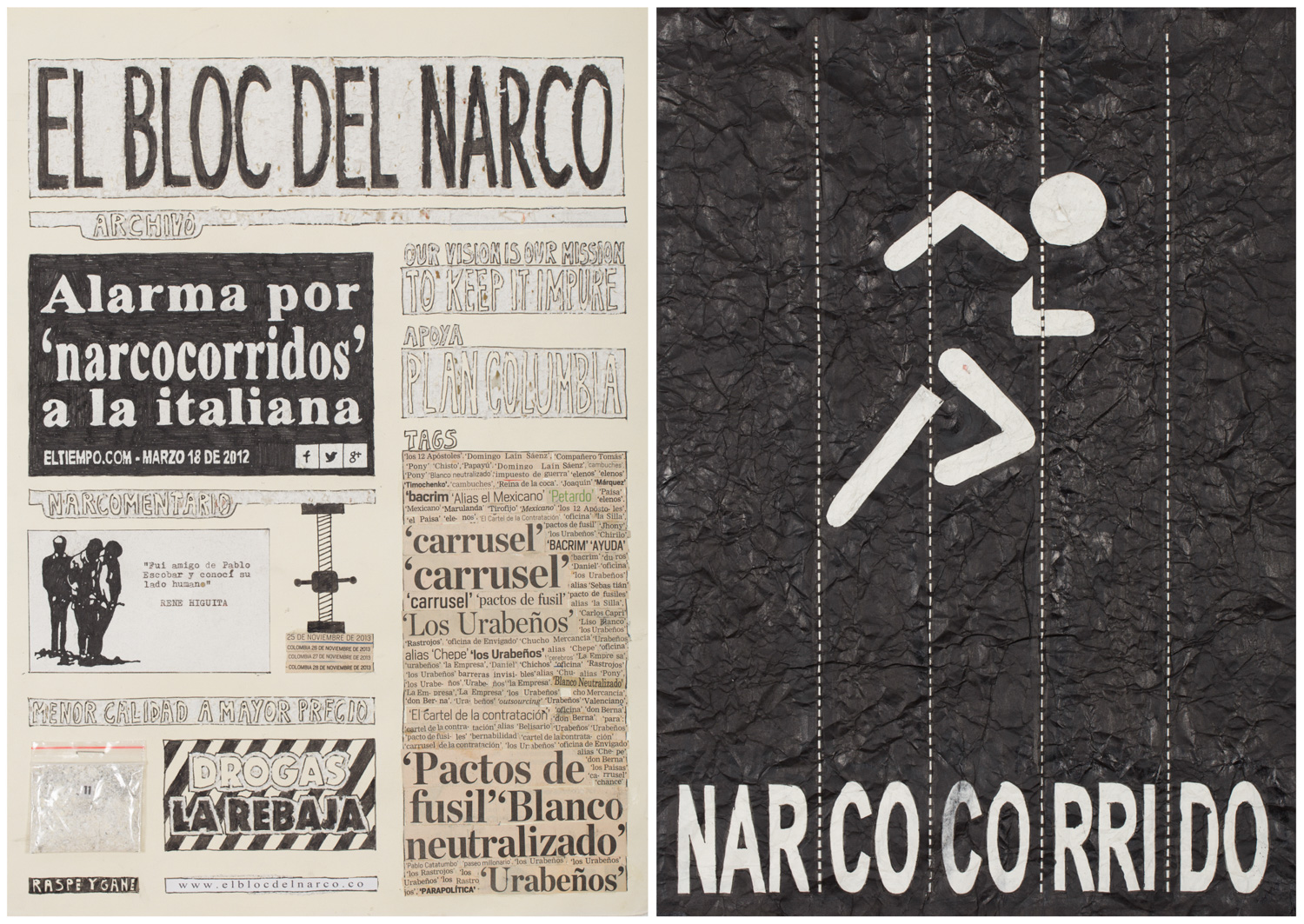 Camilo Restrepo. <em>El Bloc Del Narco #11, </em> 2016. Ink, water-soluble wax pastel, tape, glue, newspaper clippings, staples, plastic bag, paper dust and saliva on paper, 16 1/2 x 24 (41.9 x 61 cm)