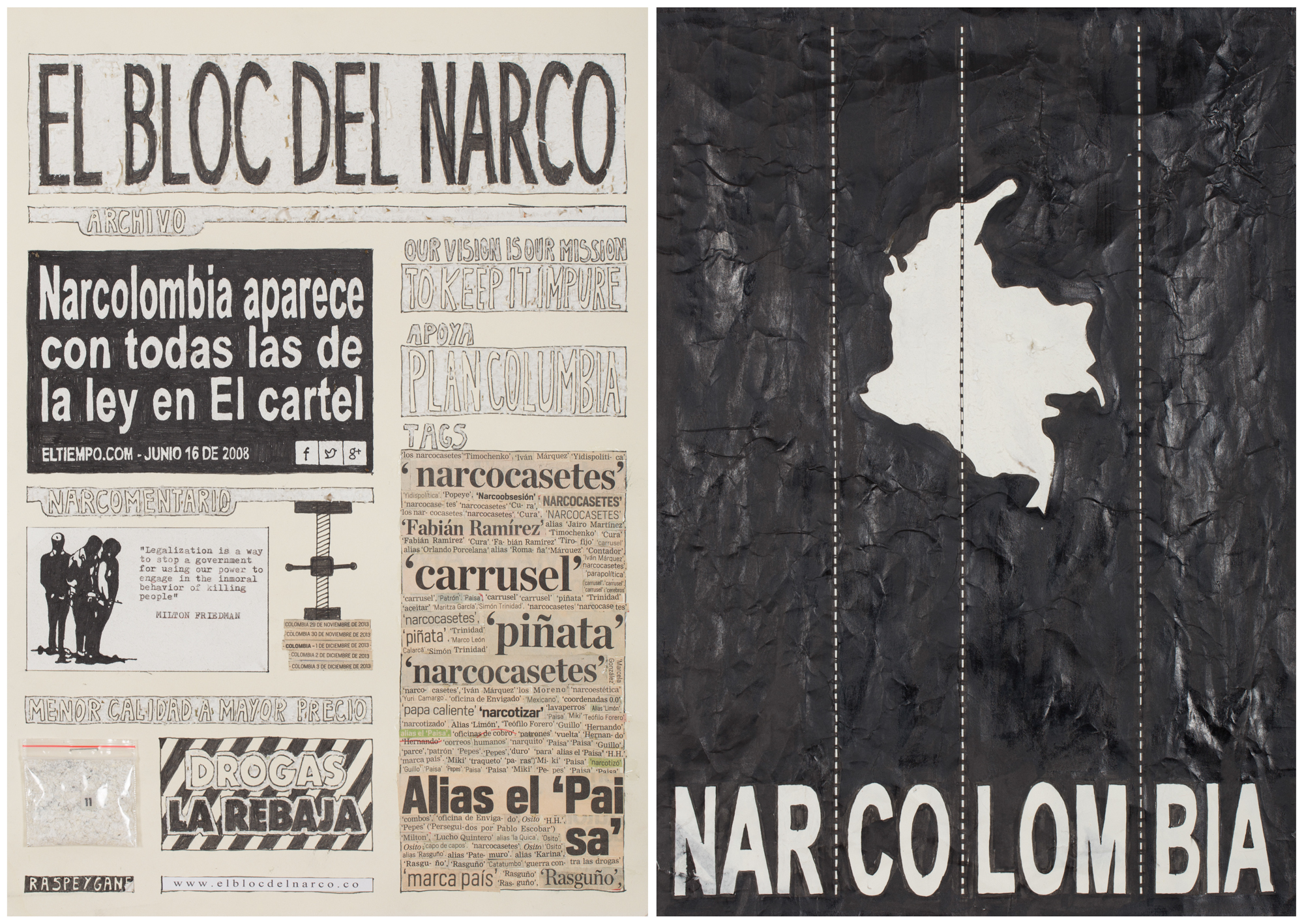 Camilo Restrepo. <em>El Bloc Del Narco #12, </em> 2016. Ink, water-soluble wax pastel, tape, glue, newspaper clippings, staples, plastic bag, paper dust and saliva on paper on paper,  16 1/2 x 24 (41.9 x 61 cm)
