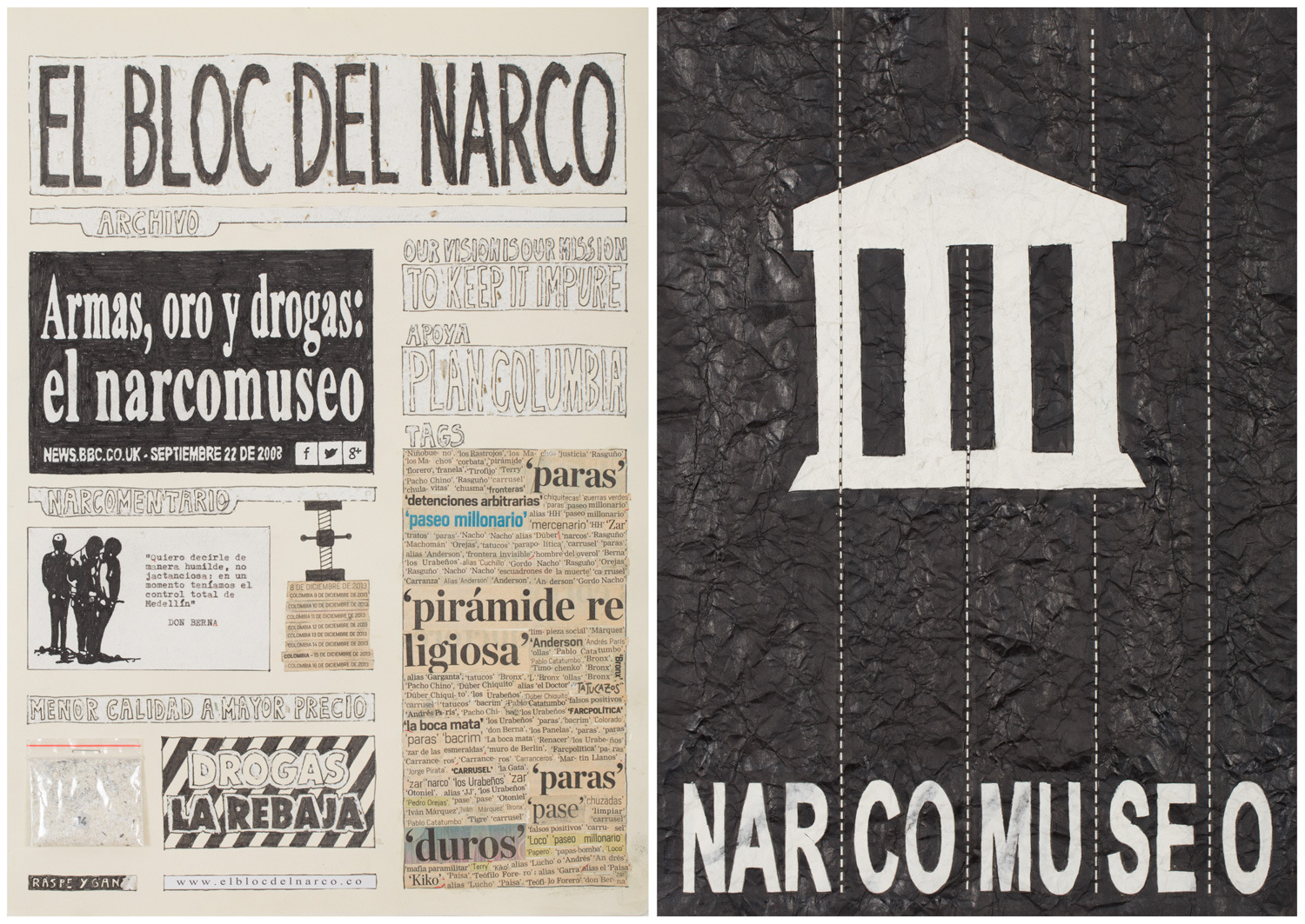 Camilo Restrepo. <em>El Bloc Del Narco #14, </em> 2016. Ink, water-soluble wax pastel, tape, glue, newspaper clippings, staples, plastic bag, paper dust and saliva on paper on paper,  16 1/2 x 24 (41.9 x 61 cm)