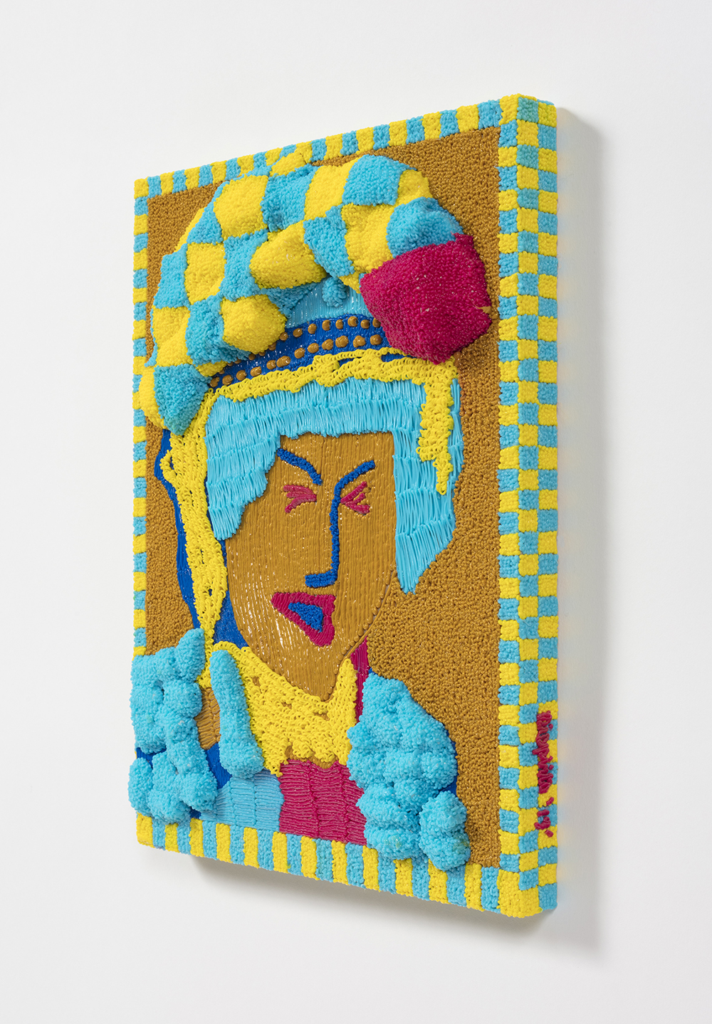 Dominic Dispirito. <em>Avin a slash</em>, 2018. Manually printed PLA plastic on board, 11 3/4 x 8 1/4 inches  (30 x 21 cm)