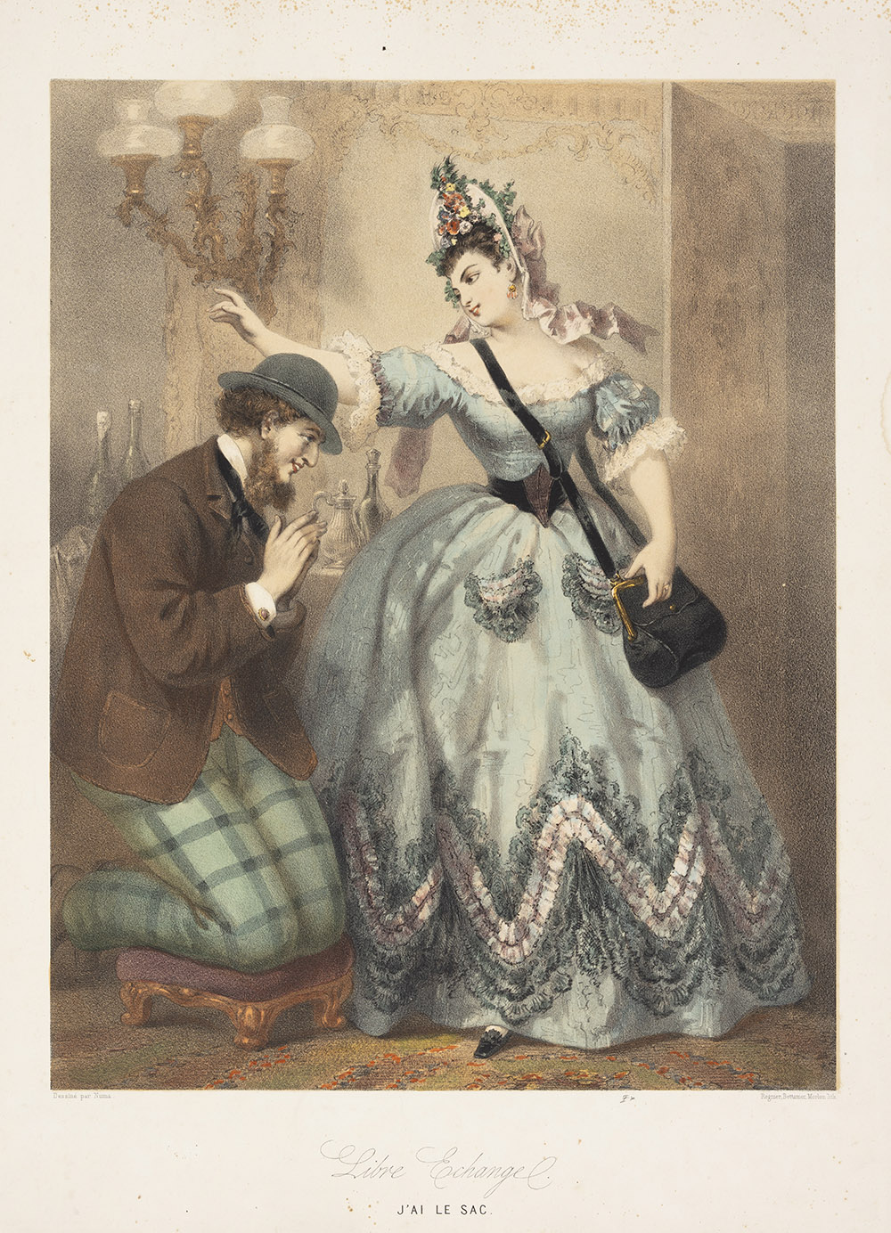 Pierre Numa Bassaget. <em>Libre Exchange. J'ai Le Sac (A Fair Exchange. I Have the Purse.),</em> c. 1864. Color lithograph.