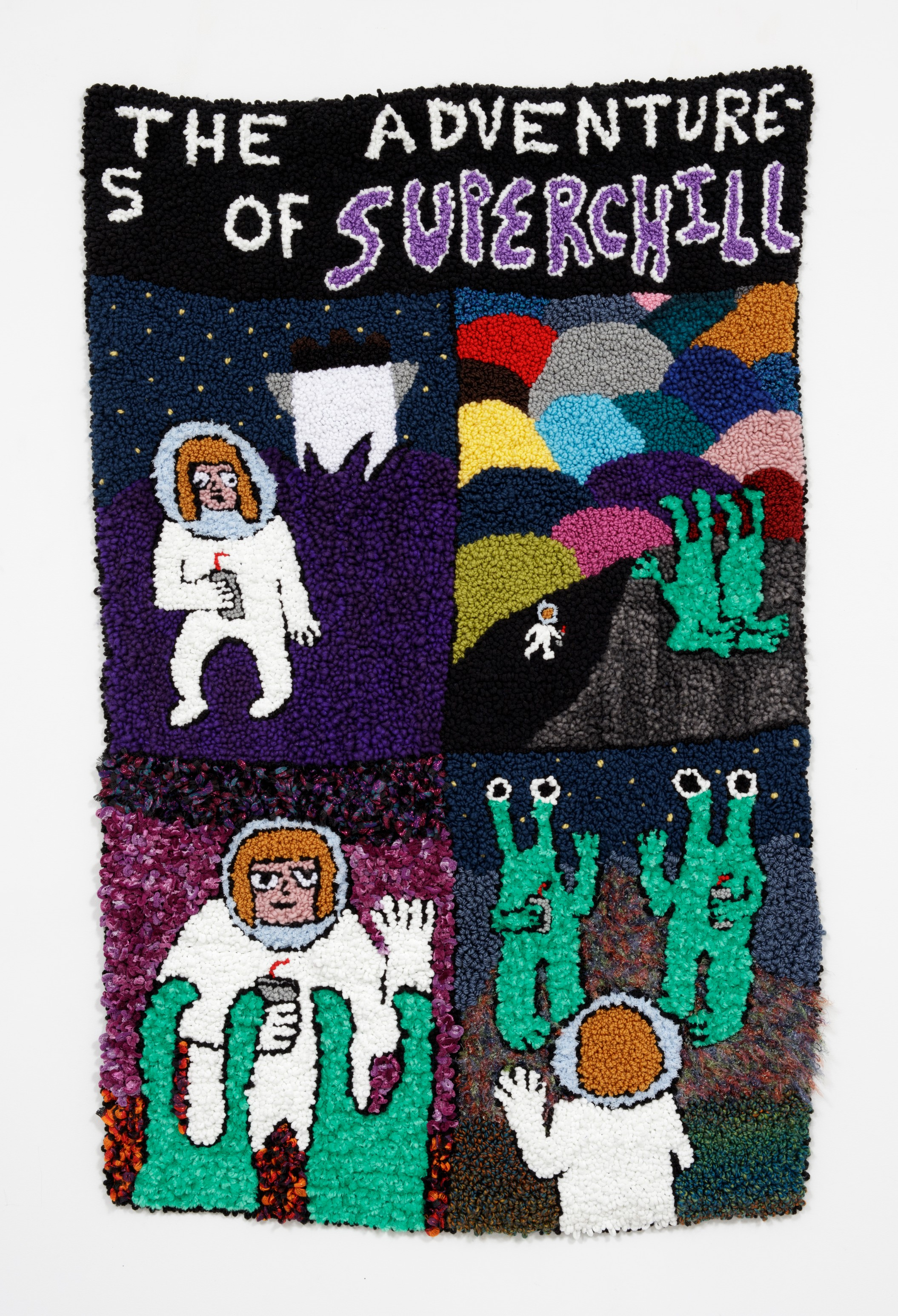 Hannah Epstein. <em>Superchill (DYWAFTTOS?) Episode 2</em>, 2019. Wool, acrylic, polyester and burlap, 69 x 44 inches (175.3 x 111.8 cm)