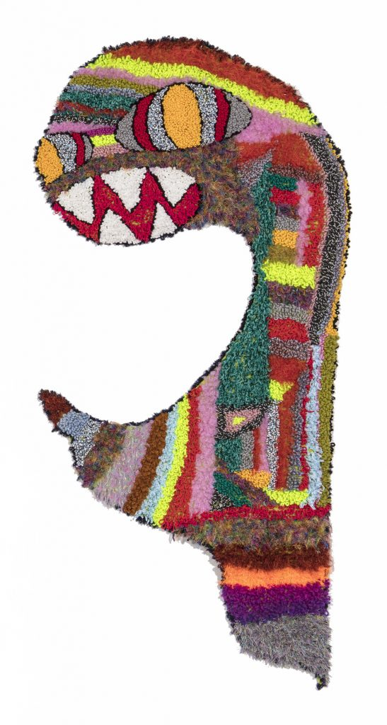 Hannah Epstein. <em>Monstronaut</em>, 2019. Wool, acrylic, polyester and burlap, 96 x 43 inches  (243.8 x 109.2 cm)