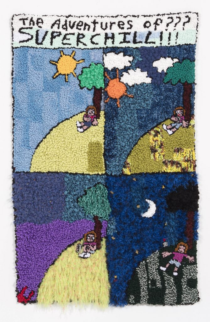 Hannah Epstein. <em>Home Sweet Home</em>, 2019. Wool, acrylic, polyester and burlap, 69 x 44 inches  (175.3 x 111.8 cm)