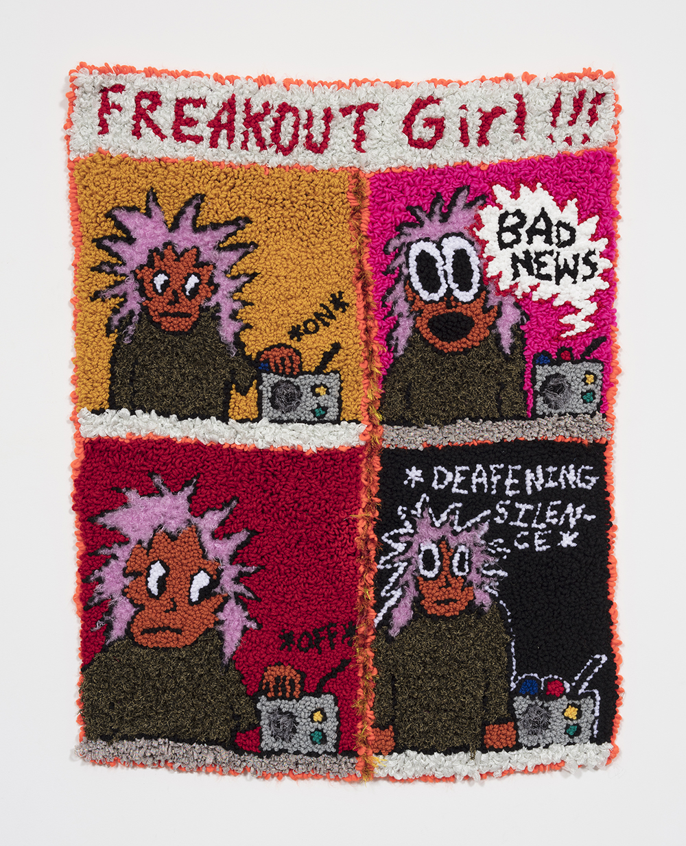 Hannah Epstein. <em>Freakout Girl VS The News Cycle</em>, 2019. Wool, acrylic, polyester and burlap, 47 x 37 inches  (119.4 x 94 cm)