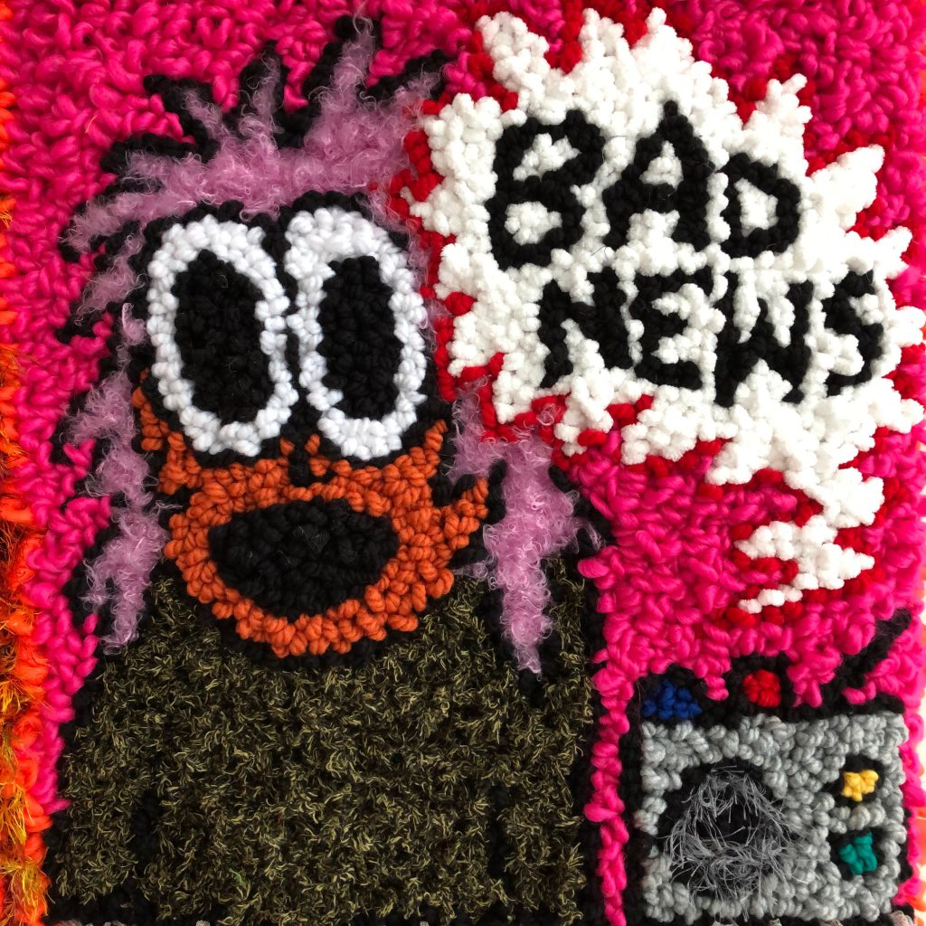 Hannah Epstein. <em>Freakout Girl VS The News Cycle</em>, 2019. Wool, acrylic, polyester and burlap, 47 x 37 inches  (119.4 x 94 cm) Detail