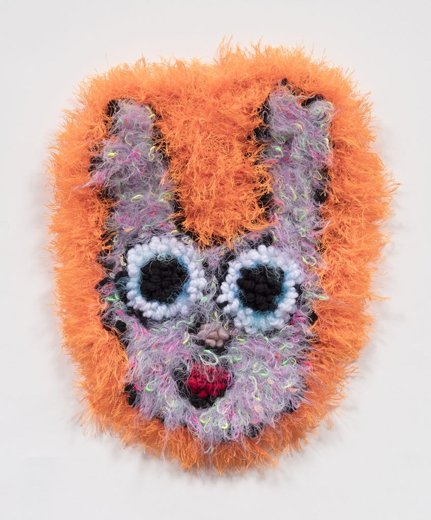 Hannah Epstein. <em>Eyes Like Saucers</em>, 2019. Wool, acrylic, polyester and burlap, 32 x 39 inches  (81.3 x 99.1 cm)