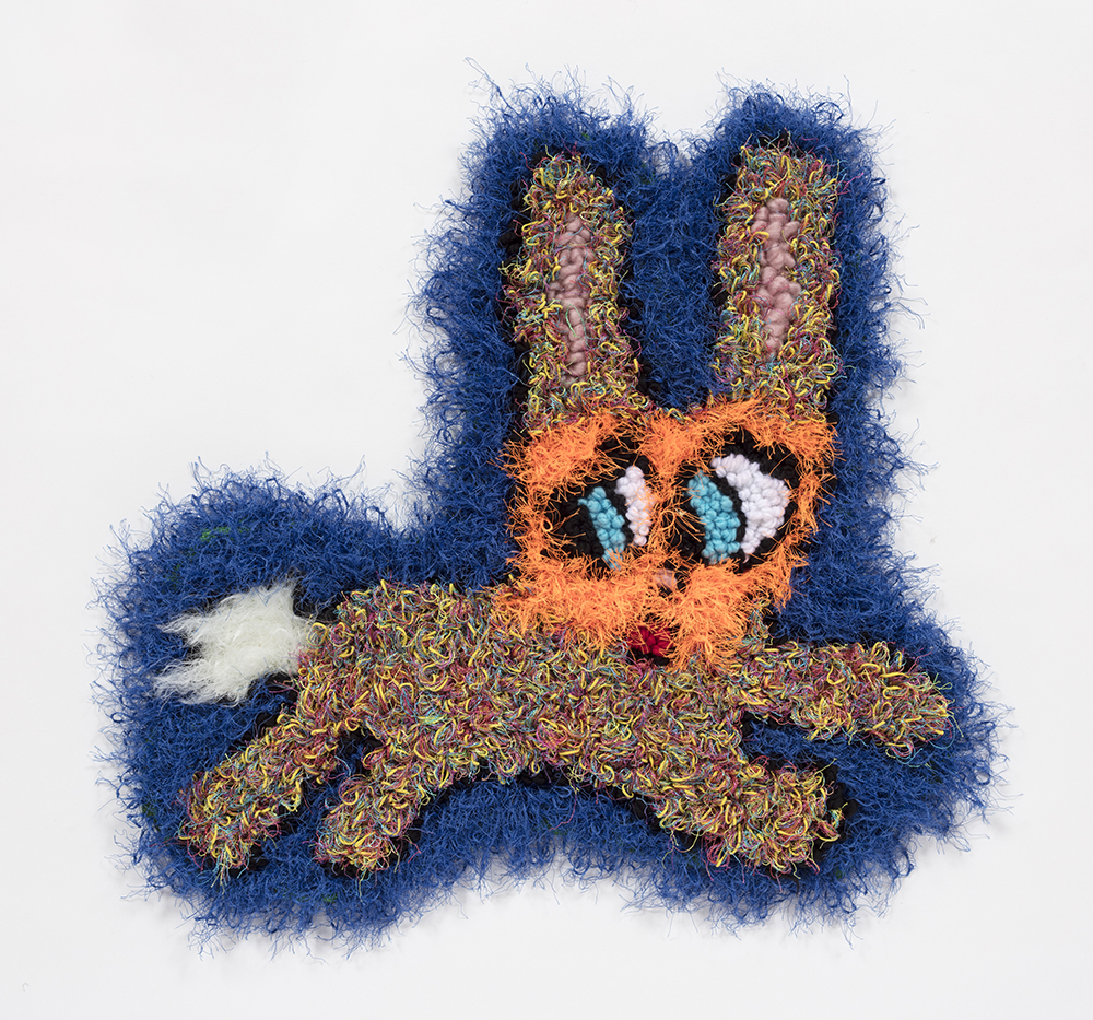 Hannah Epstein. <em>Quick Escape</em>, 2019. Wool, acrylic, polyester and burlap, 19 x 20 inches (48.3 x 50.8 cm)