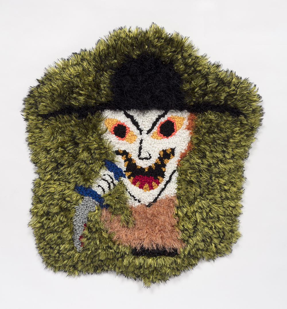 Hannah Epstein. <em>Pishtaco</em>, 2019. Wool, acrylic, polyester and burlap, 32 x 31 inches  (81.3 x 78.7 cm)