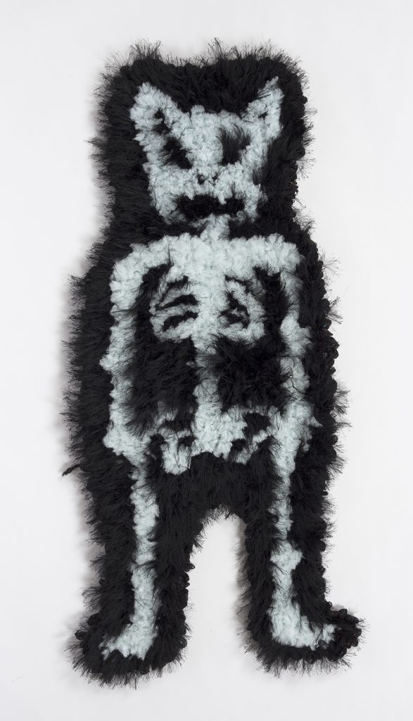 Hannah Epstein. <em>Bury Him!</em>, 2019. Wool, acrylic, polyester and burlap, 44 x 18 inches  (111.8 x 45.7 cm)